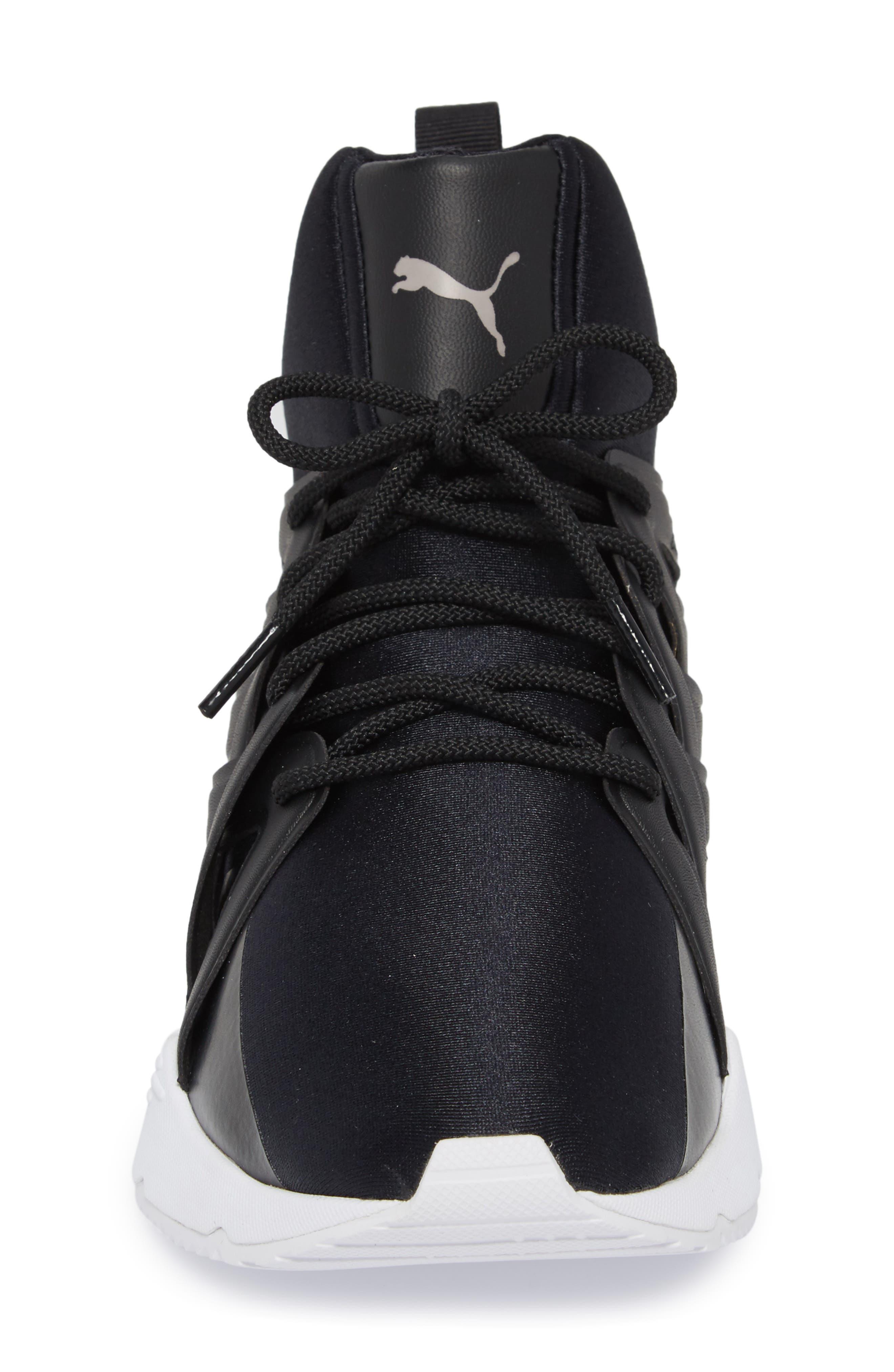 Muse Echo Satin En Pointe High Top Sneaker,                             Alternate thumbnail 4, color,                             Puma Black/ Puma White