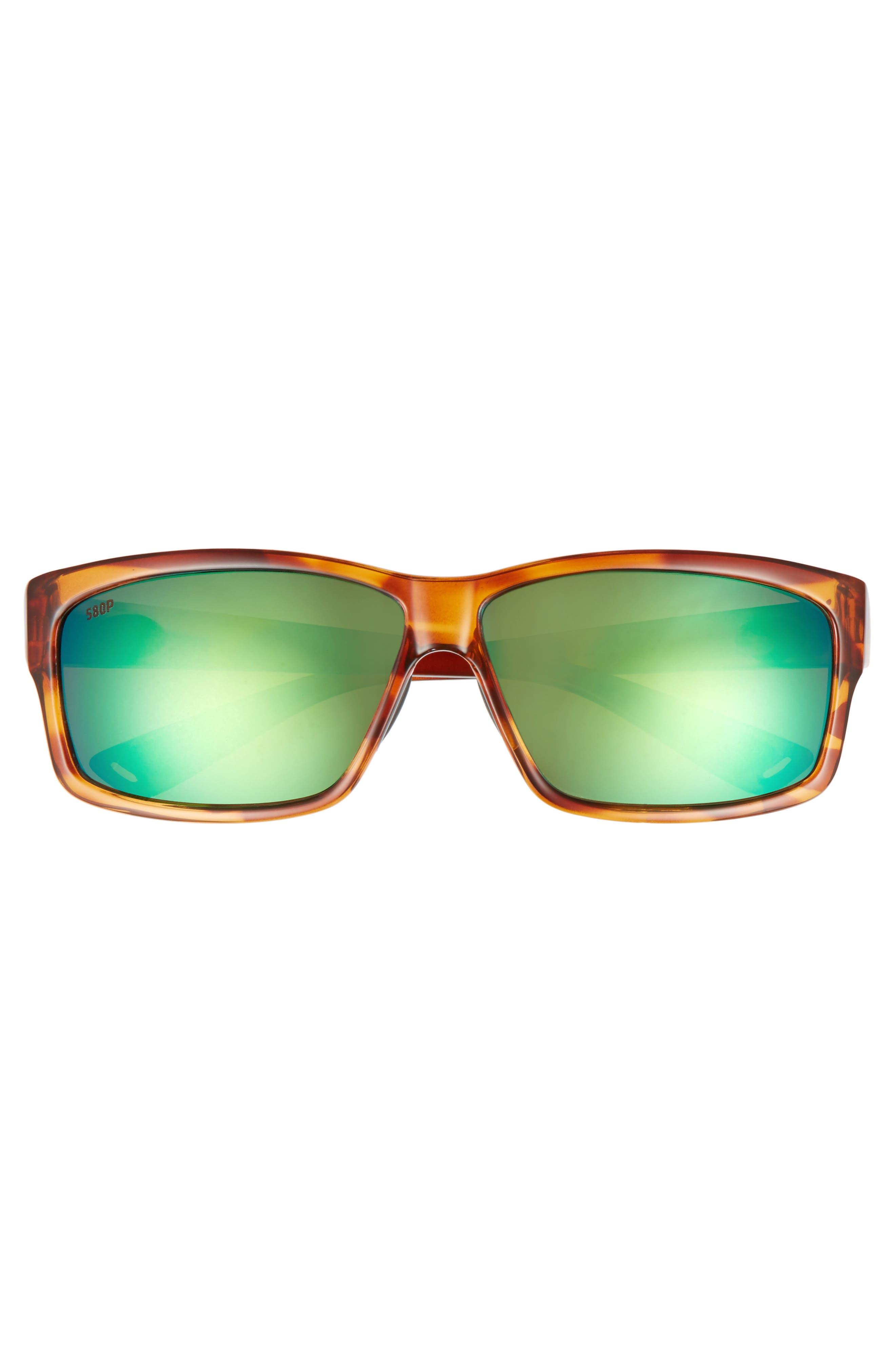 Cut 60mm Polarized Sunglasses,                             Alternate thumbnail 2, color,                             Honey Tortoise/ Green Mirror