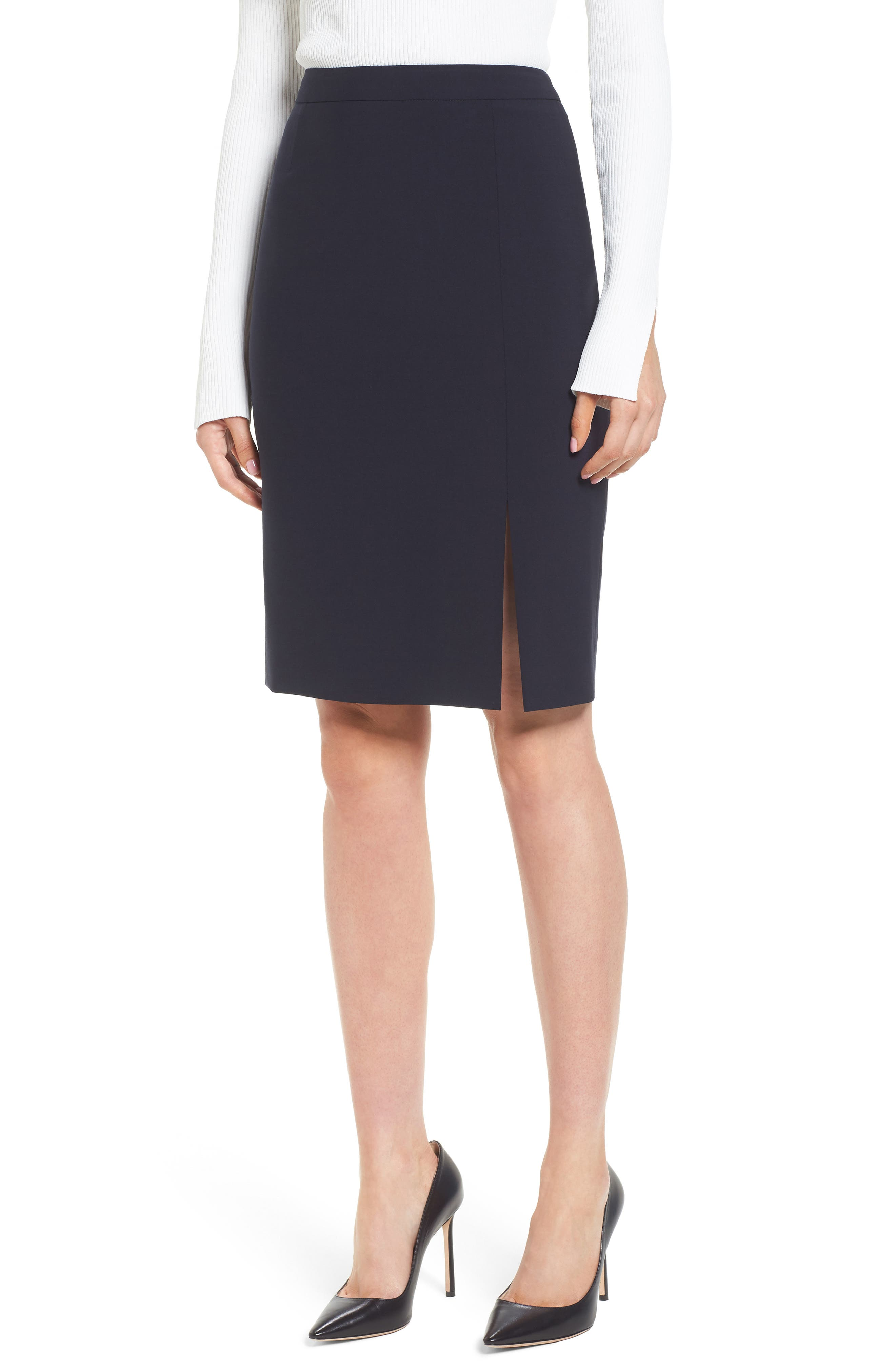 Volania Stretch Wool Side Slit Pencil Skirt,                             Main thumbnail 1, color,                             Navy