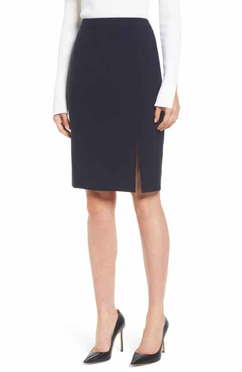 BOSS Volania Stretch Wool Side Slit Pencil Skirt