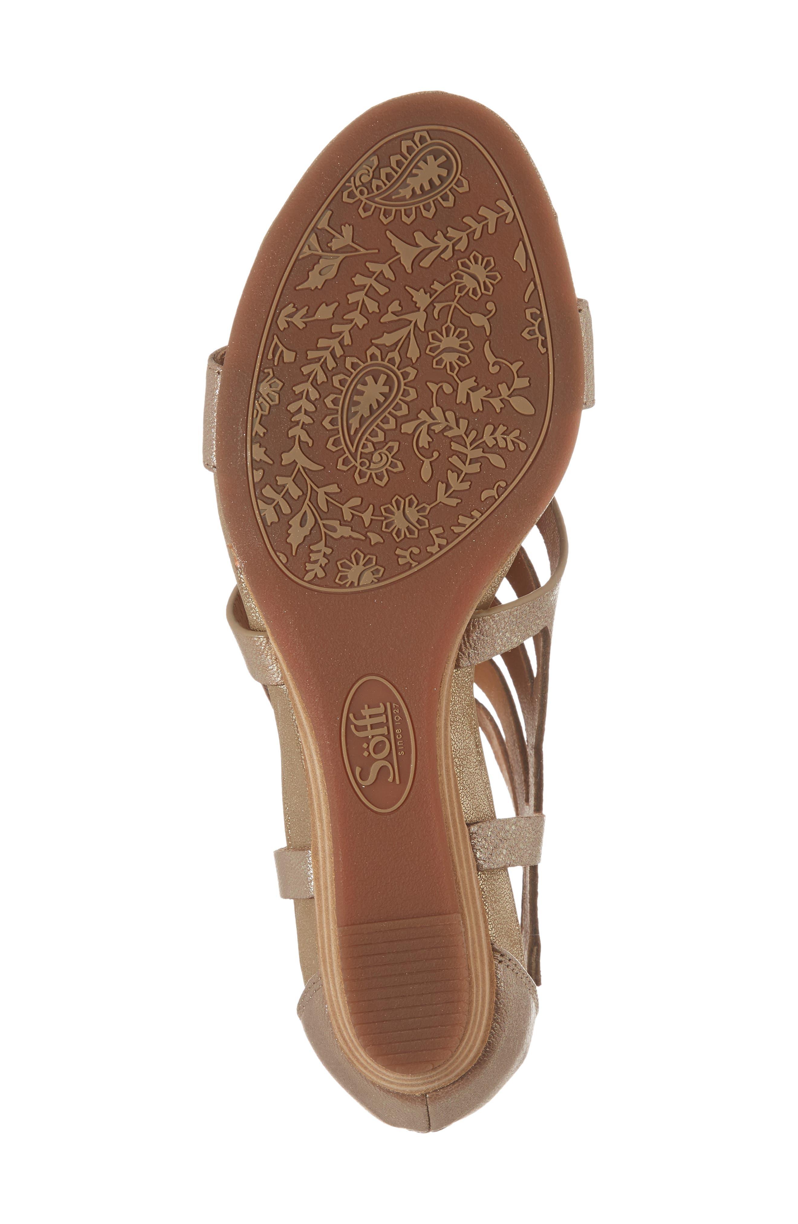 Ravello Wedge Sandal,                             Alternate thumbnail 6, color,                             Satin Gold Leather