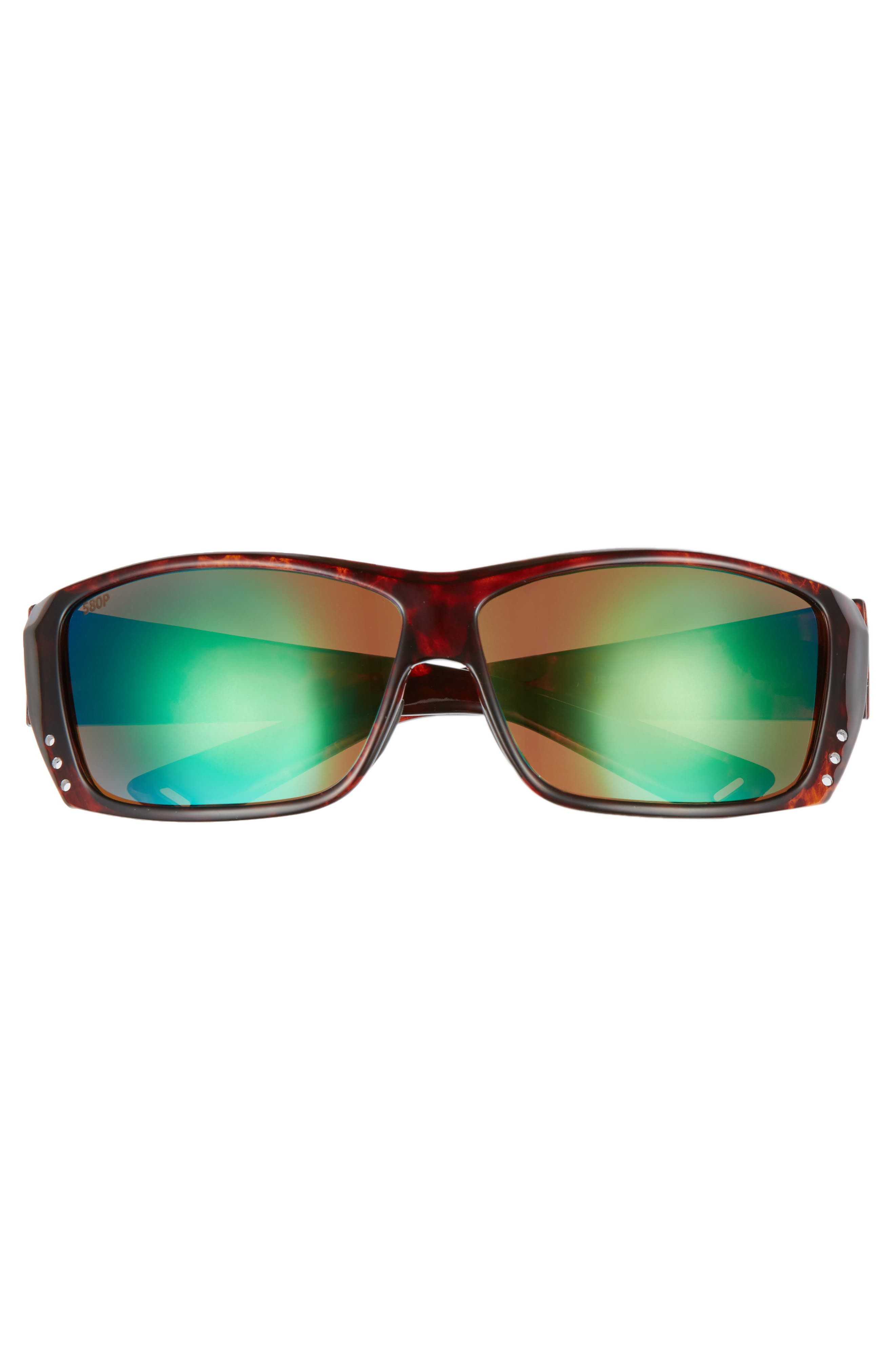 Cat Cay 60mm Polarized Sunglasses,                             Alternate thumbnail 2, color,                             Tortoise/ Green Mirror