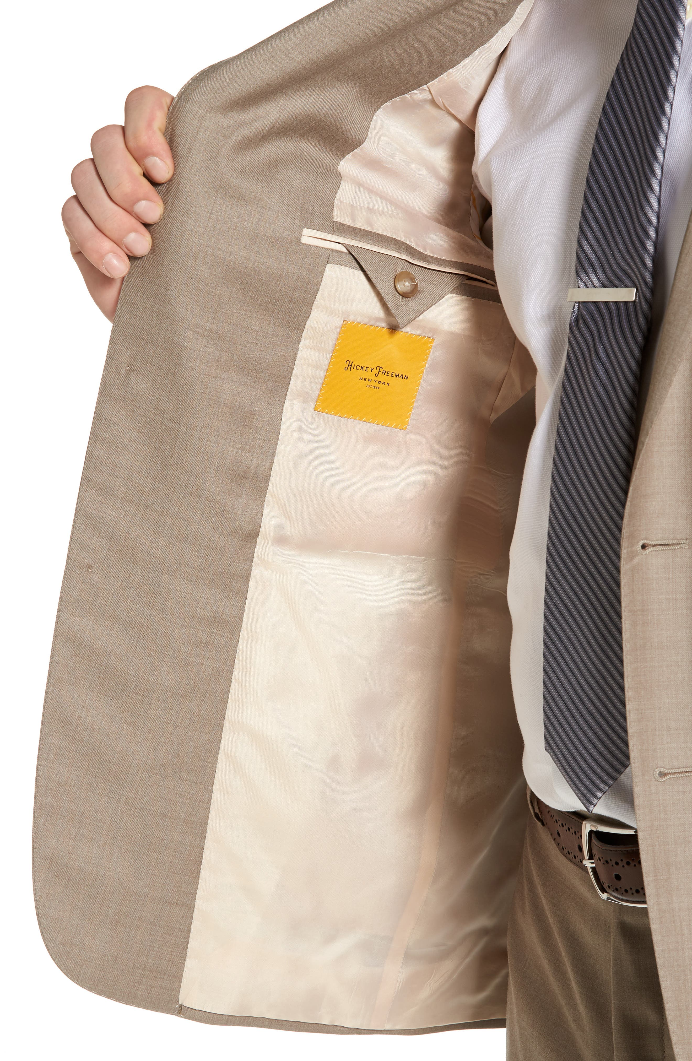 Classic B Fit Solid Wool Suit,                             Alternate thumbnail 4, color,                             Medium Beige