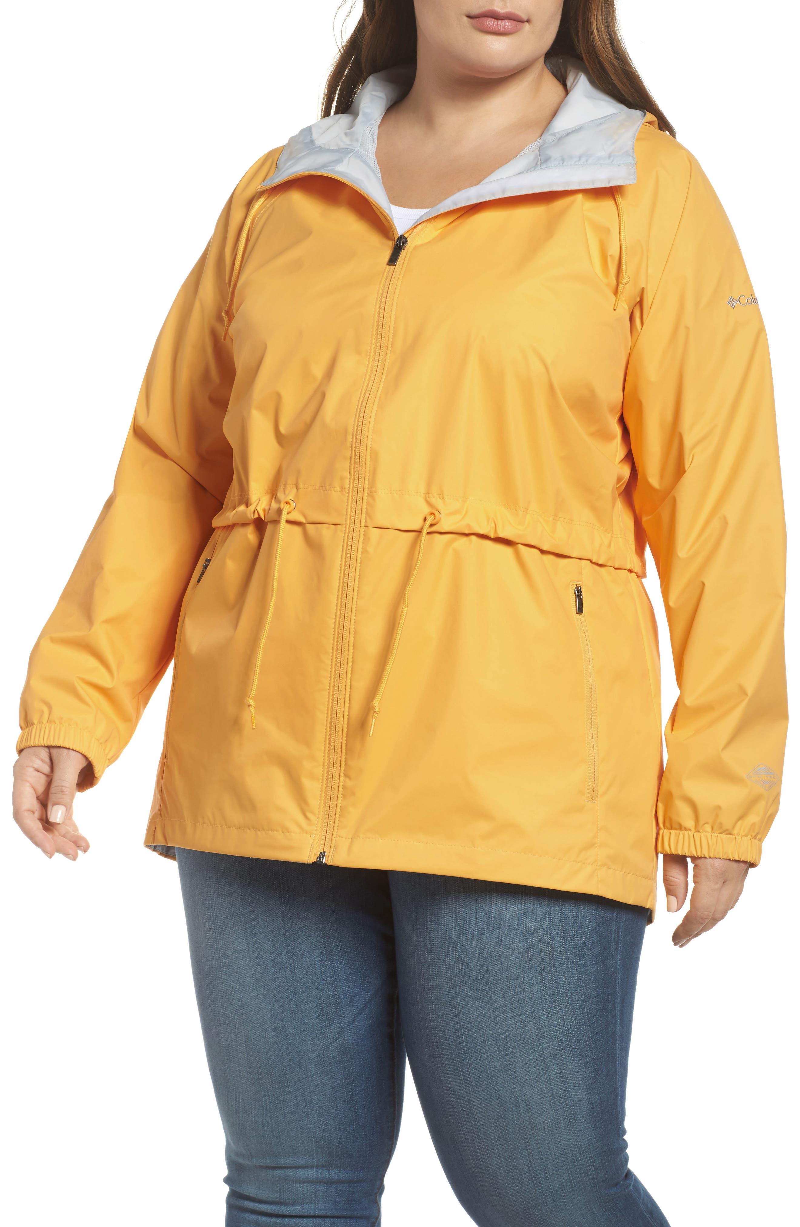 'Arcadia' Hooded Waterproof Casual Jacket,                             Alternate thumbnail 4, color,                             Yellow Ray Cirrus Grey