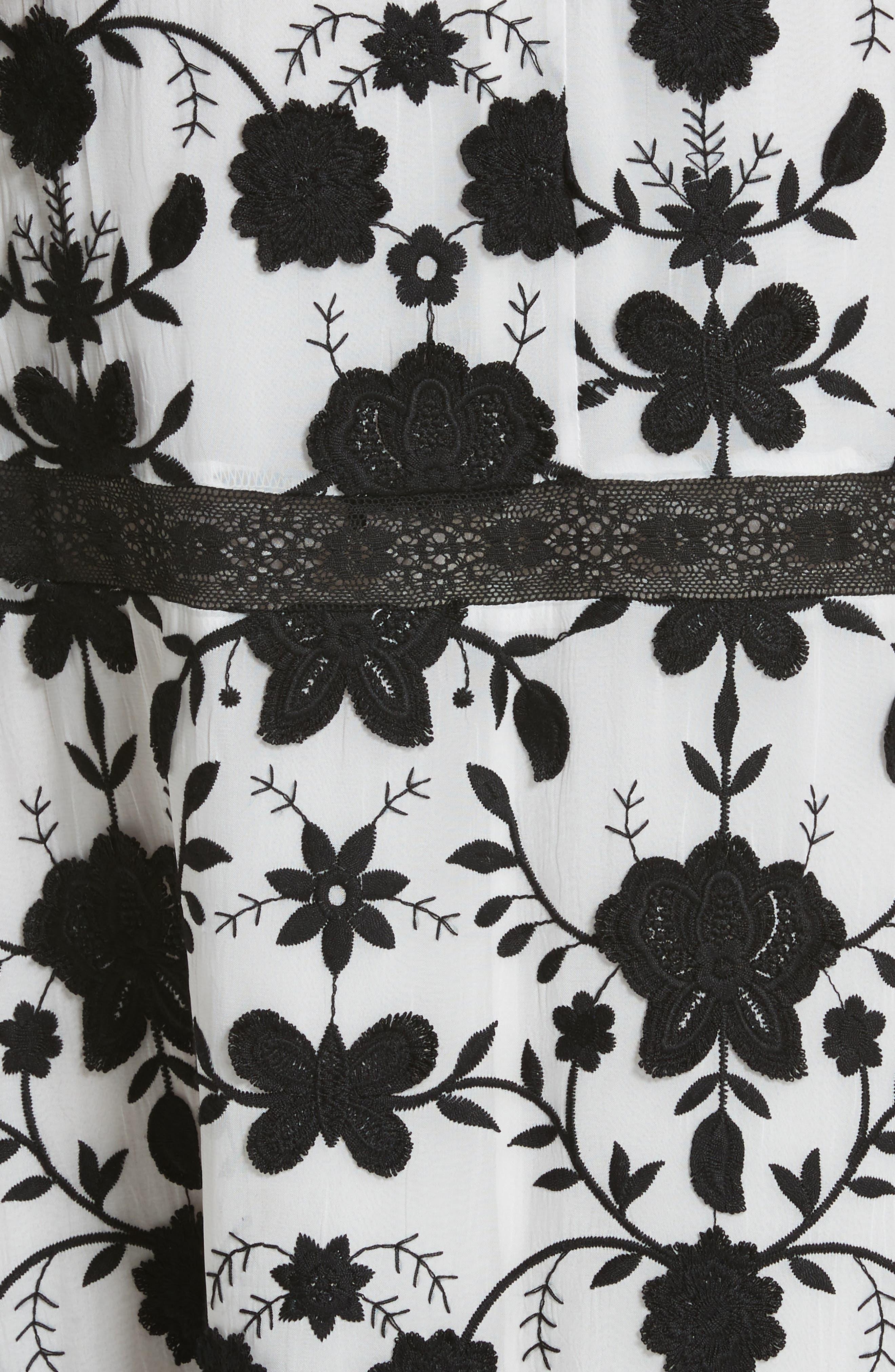 Fusca Floral Print Maxi Dress,                             Alternate thumbnail 5, color,                             Porcelain/ Caviar
