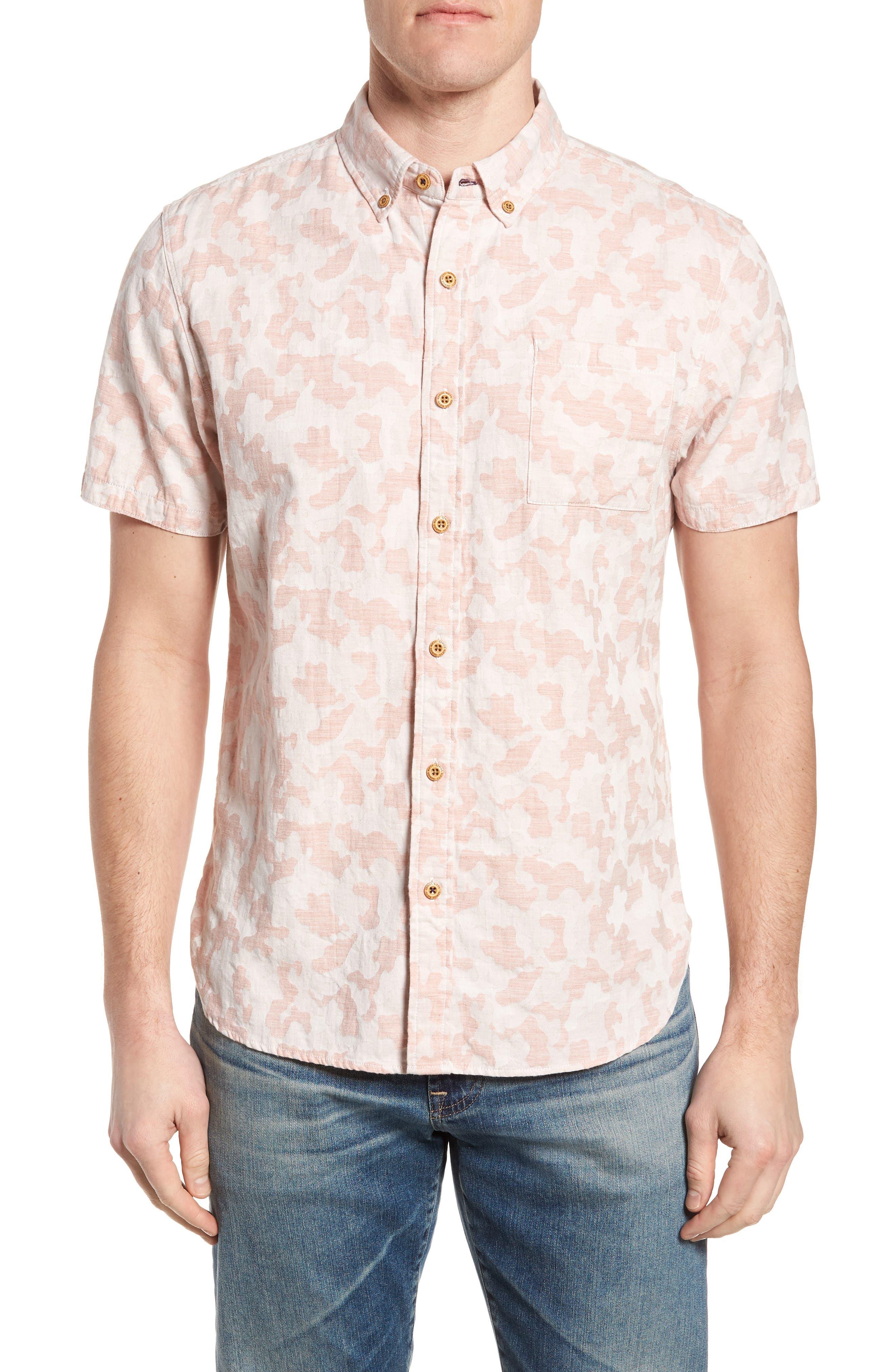 Truman Slim Fit Short Sleeve Sport Shirt,                         Main,                         color, Pink