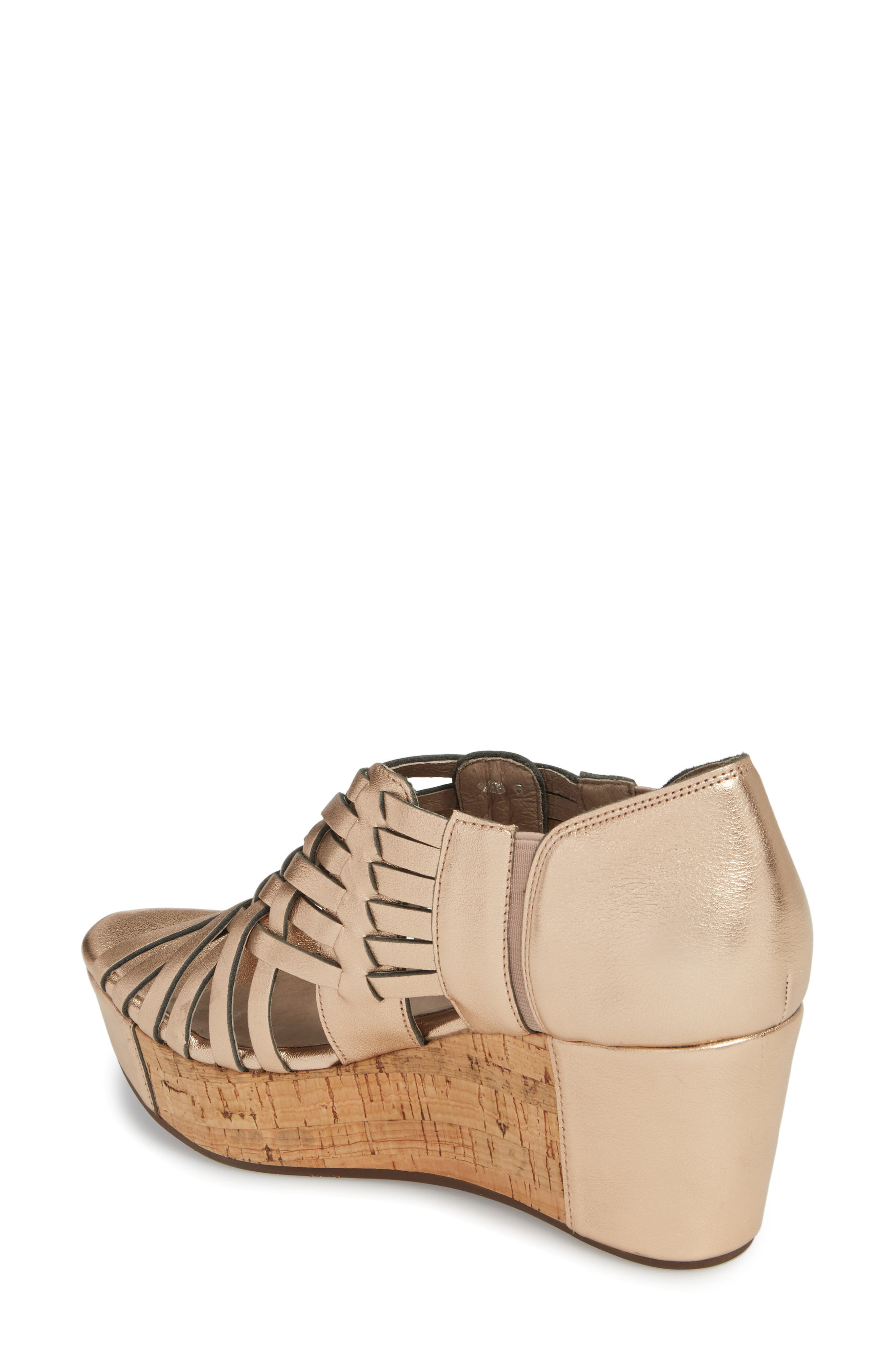 Web Woven Wedge,                             Alternate thumbnail 2, color,                             Rose Gold Leather