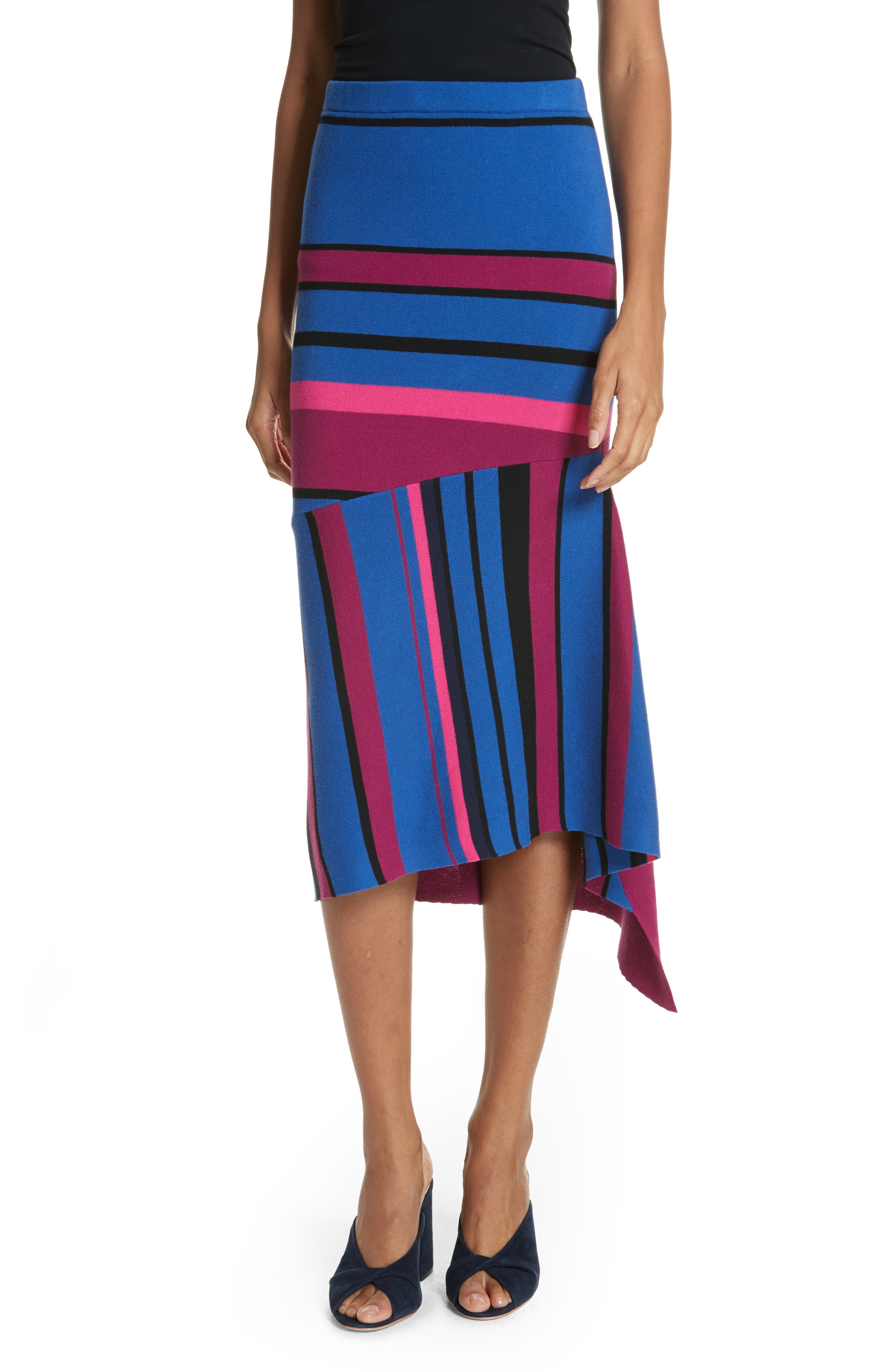 Tracy Reese Dynamic Stripe Midi Skirt