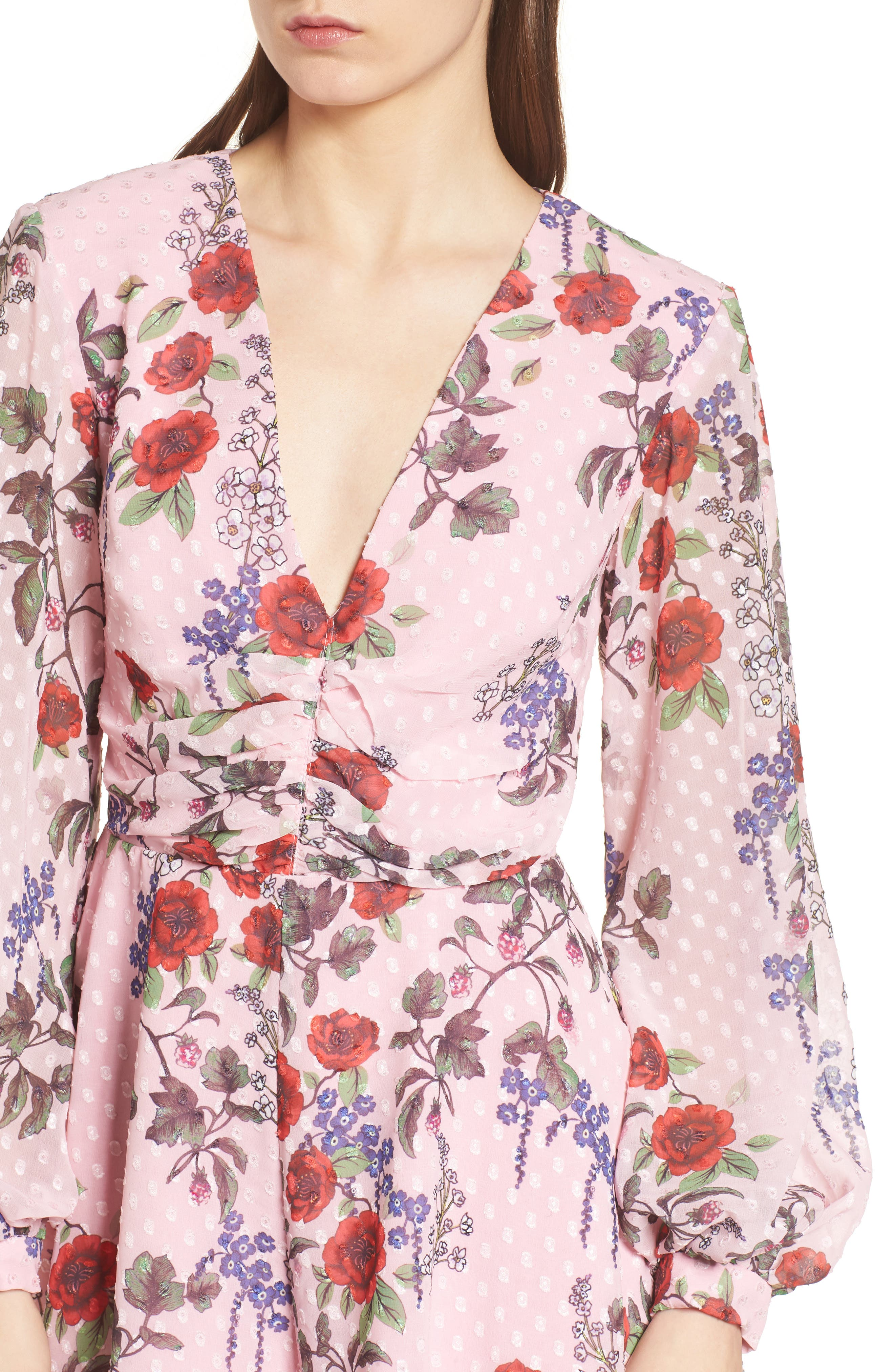 Need You Now Romper,                             Alternate thumbnail 5, color,                             Powder Pink Floral