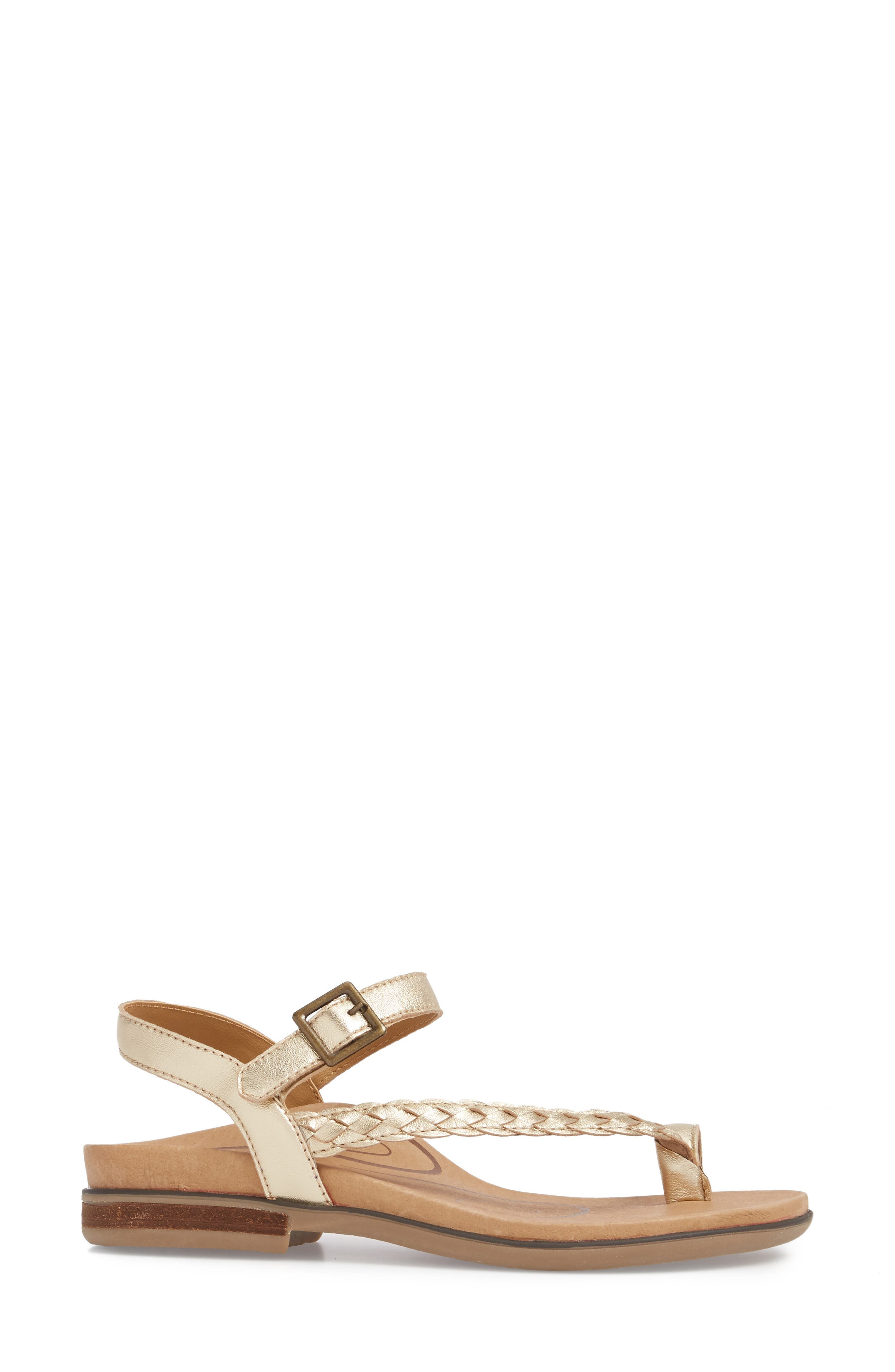 Evie Braided Strap Sandal,                             Alternate thumbnail 3, color,                             Gold Leather