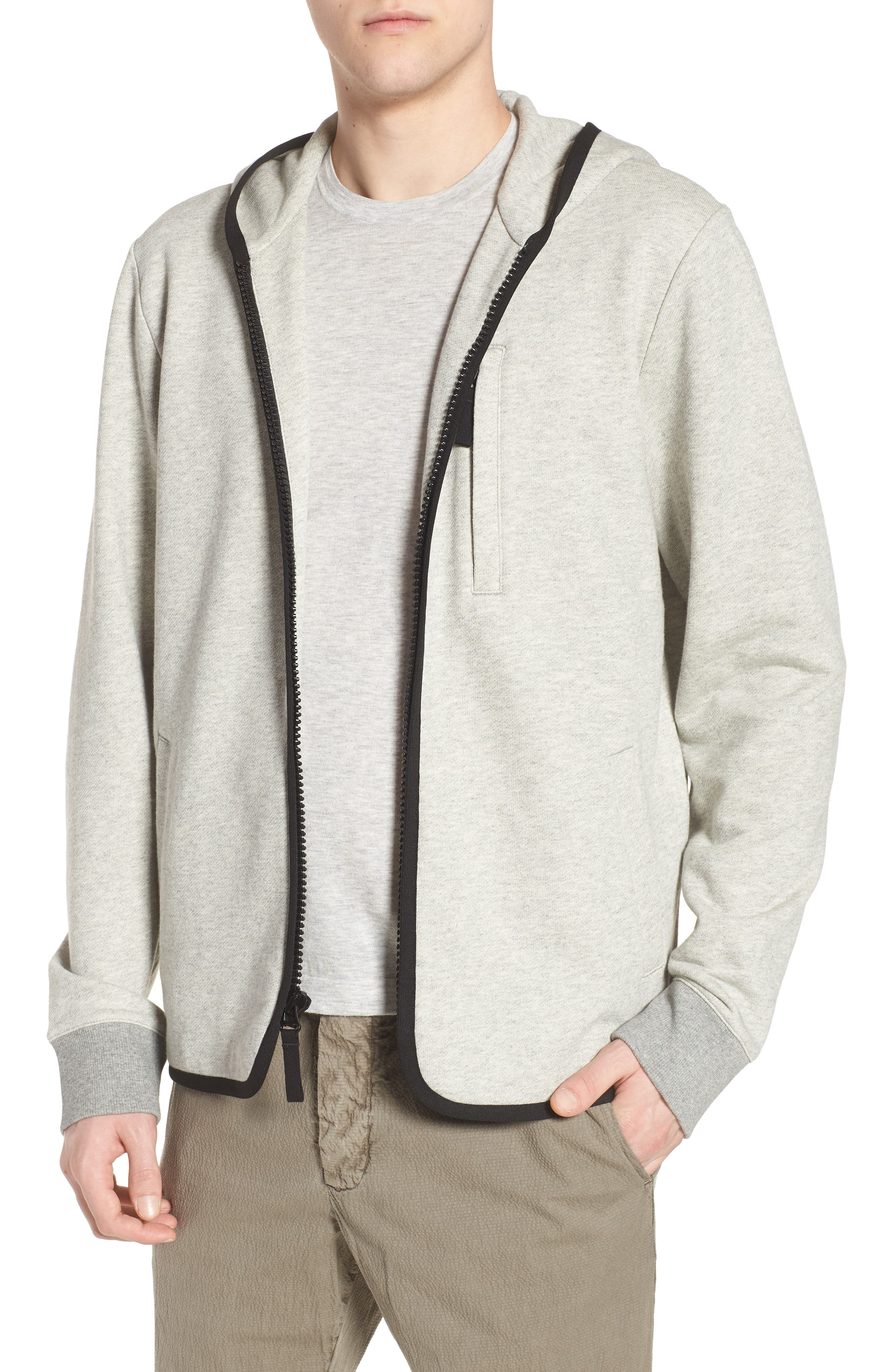 French Terry Zip Hoodie,                             Main thumbnail 1, color,                             Heather Grey/ Black