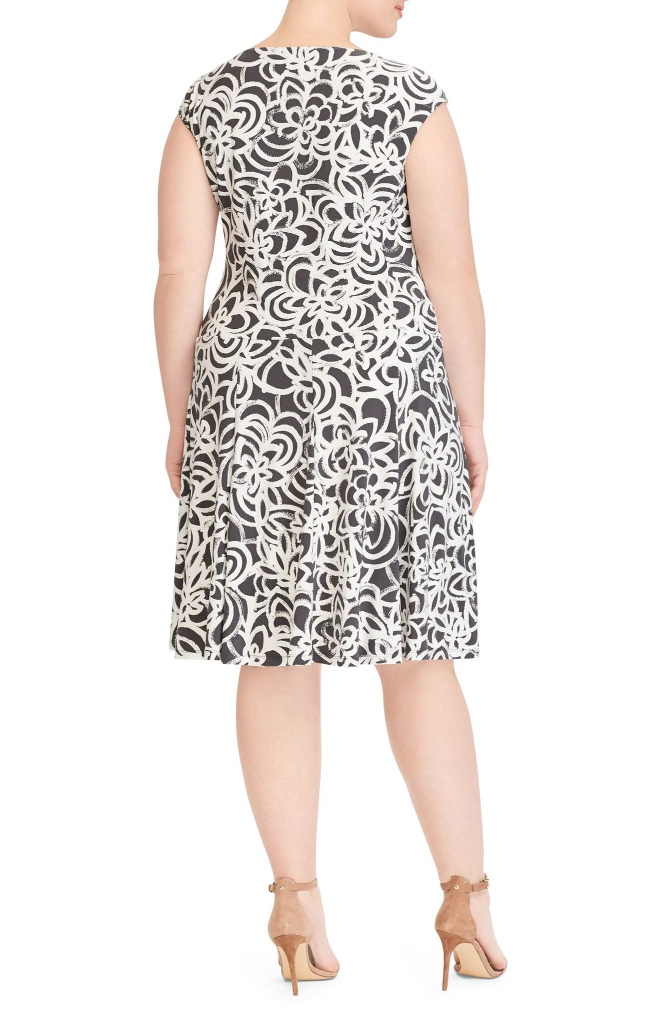 Floral Print Jersey Dress,                             Alternate thumbnail 2, color,                             Slate-Colonial Cream
