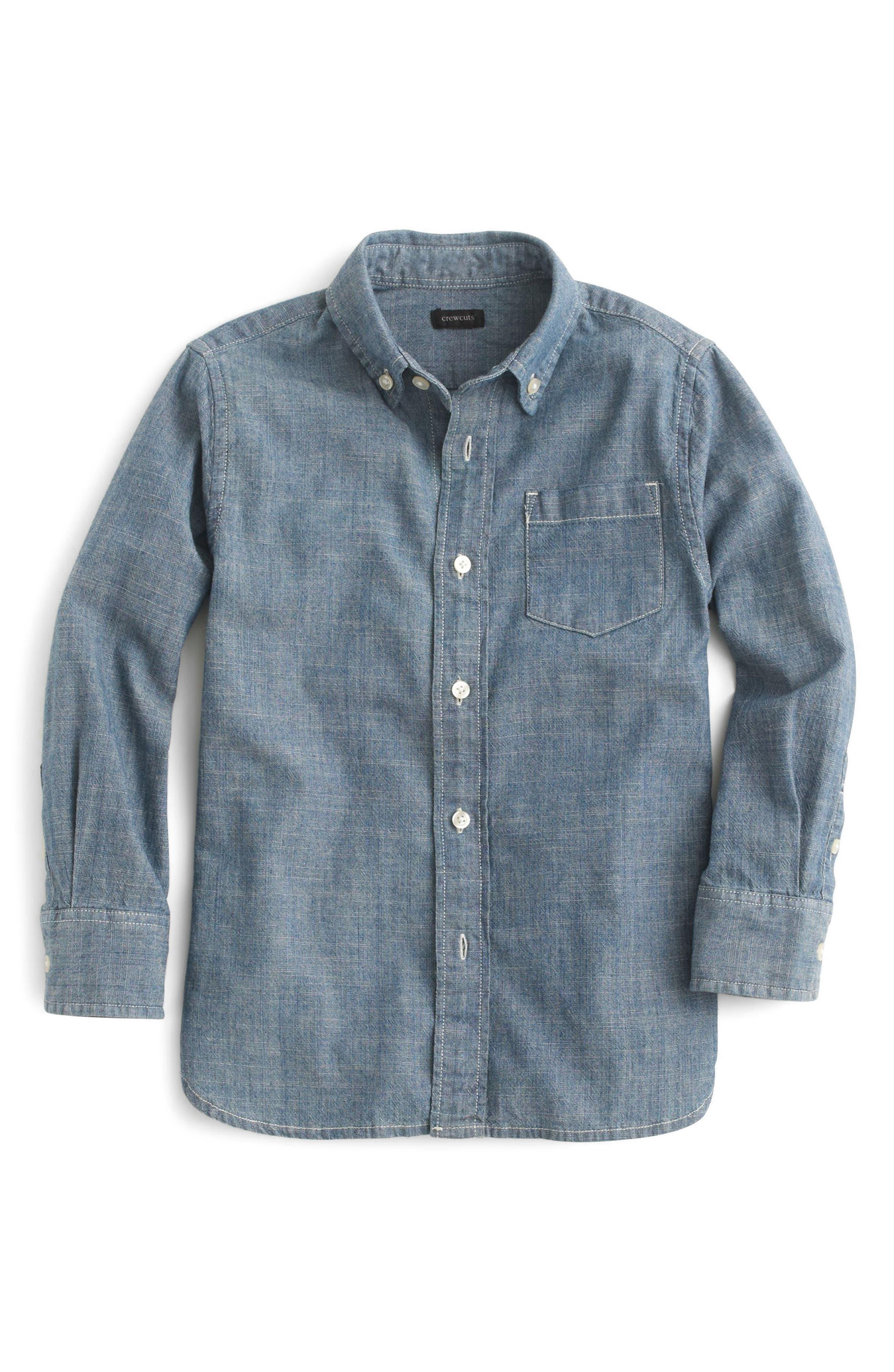 Chambray Sport Shirt,                         Main,                         color, Classic Indigo