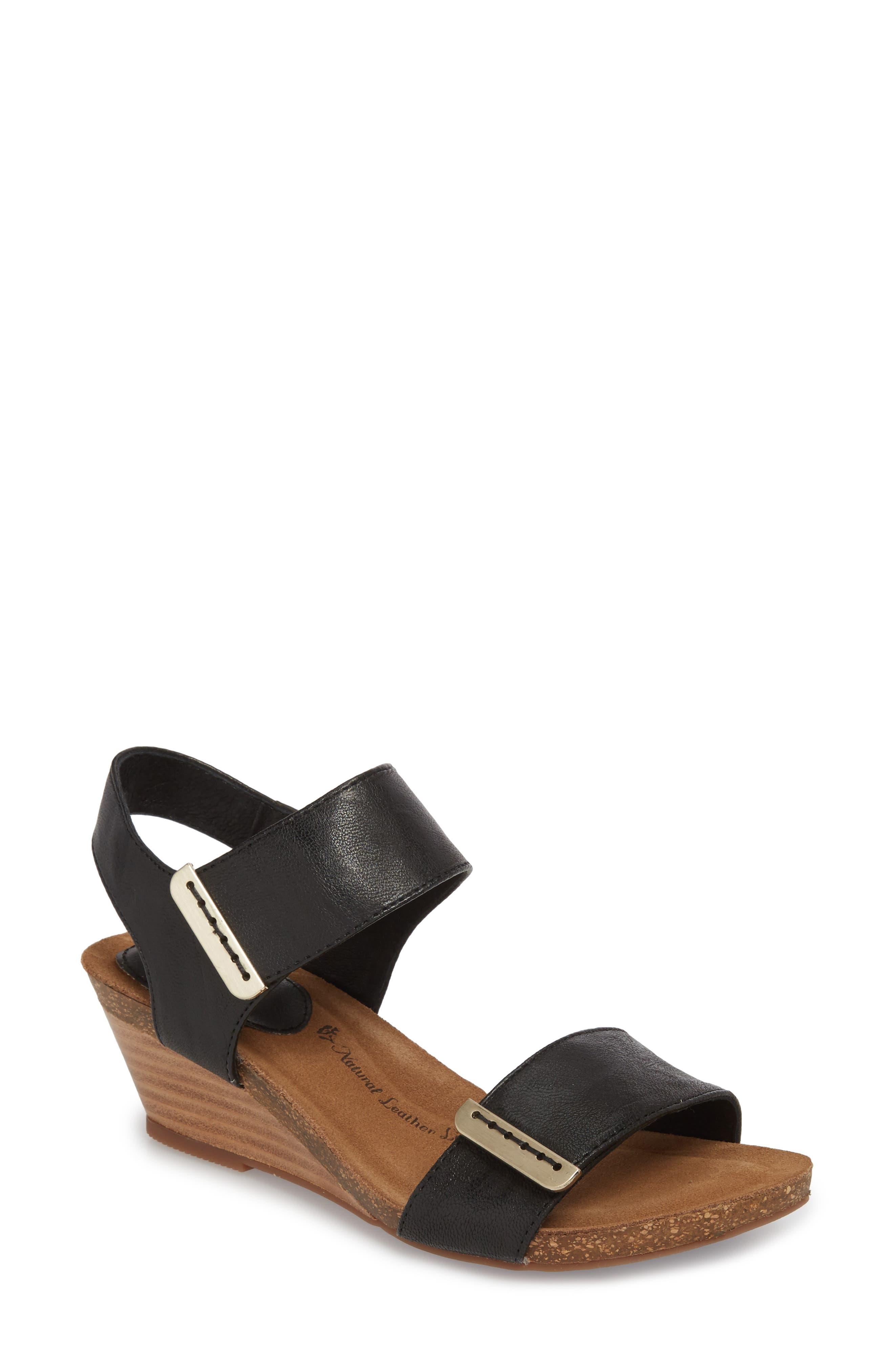 Verdi Wedge Sandal,                             Main thumbnail 1, color,                             Black Leather