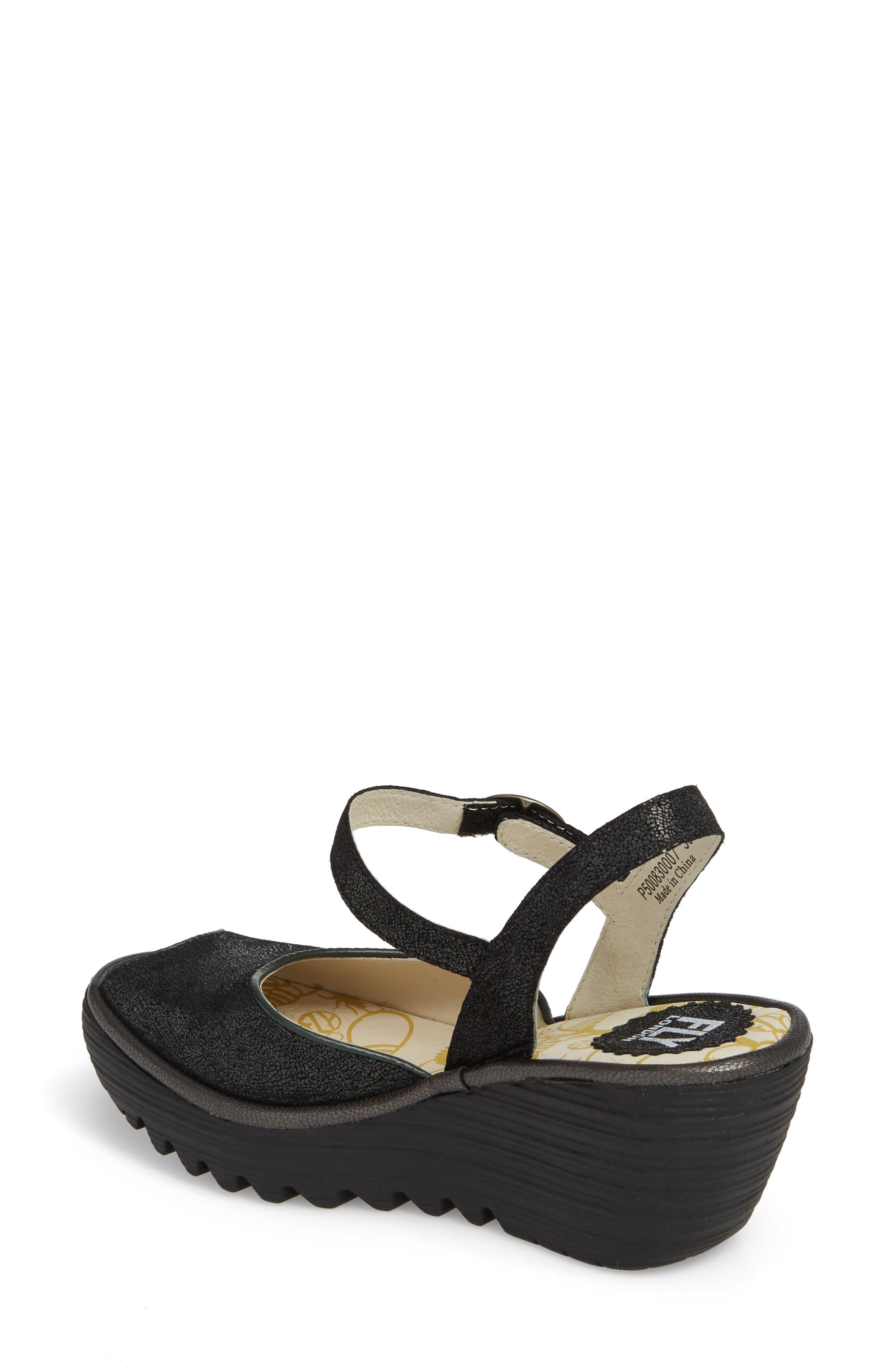 Yora Wedge Sandal,                             Alternate thumbnail 2, color,                             Black/ Graphite Leather