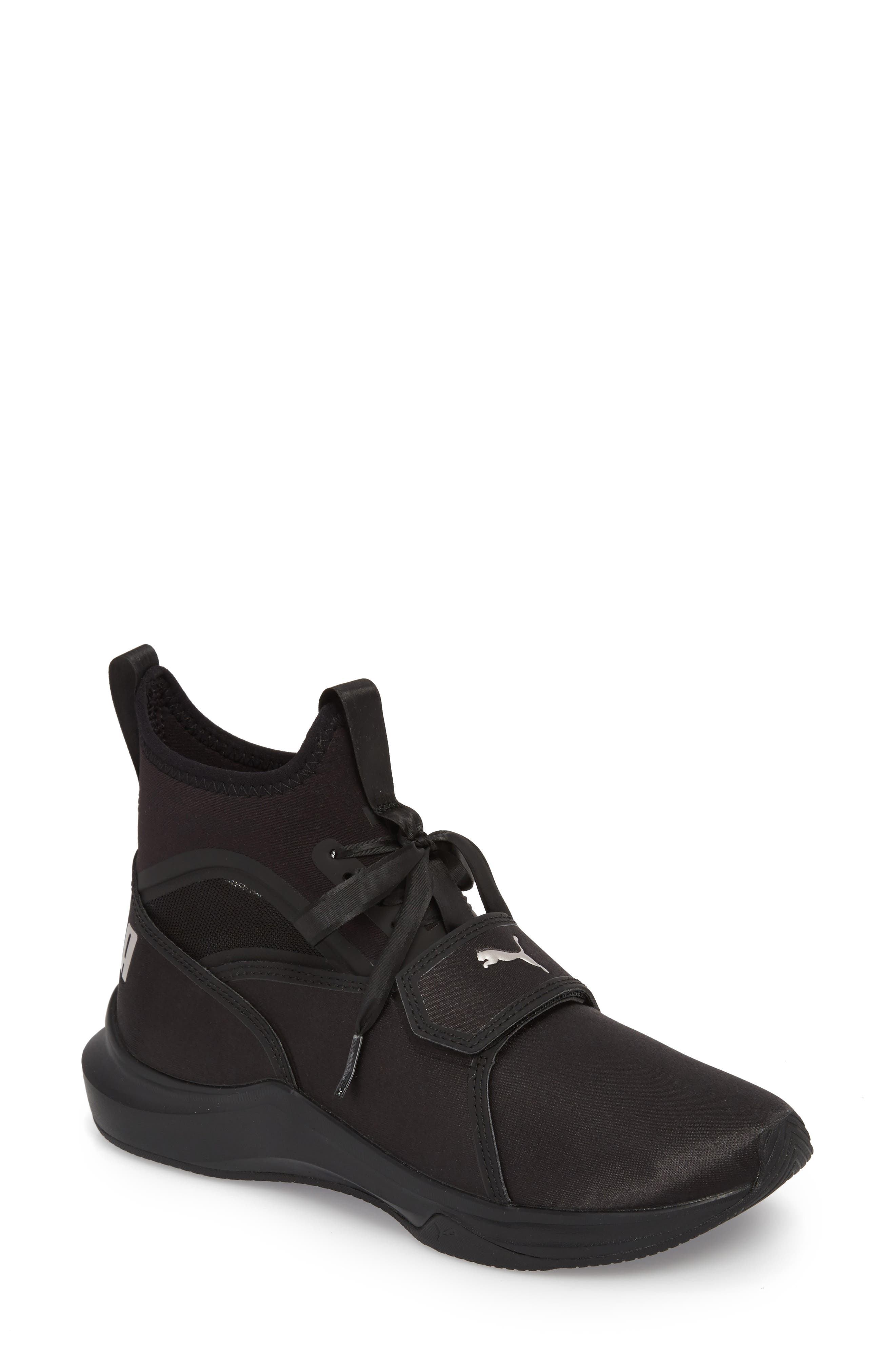 Phenom Satin EP High Top Training Shoe,                             Main thumbnail 1, color,                             Puma Black/ Puma Black