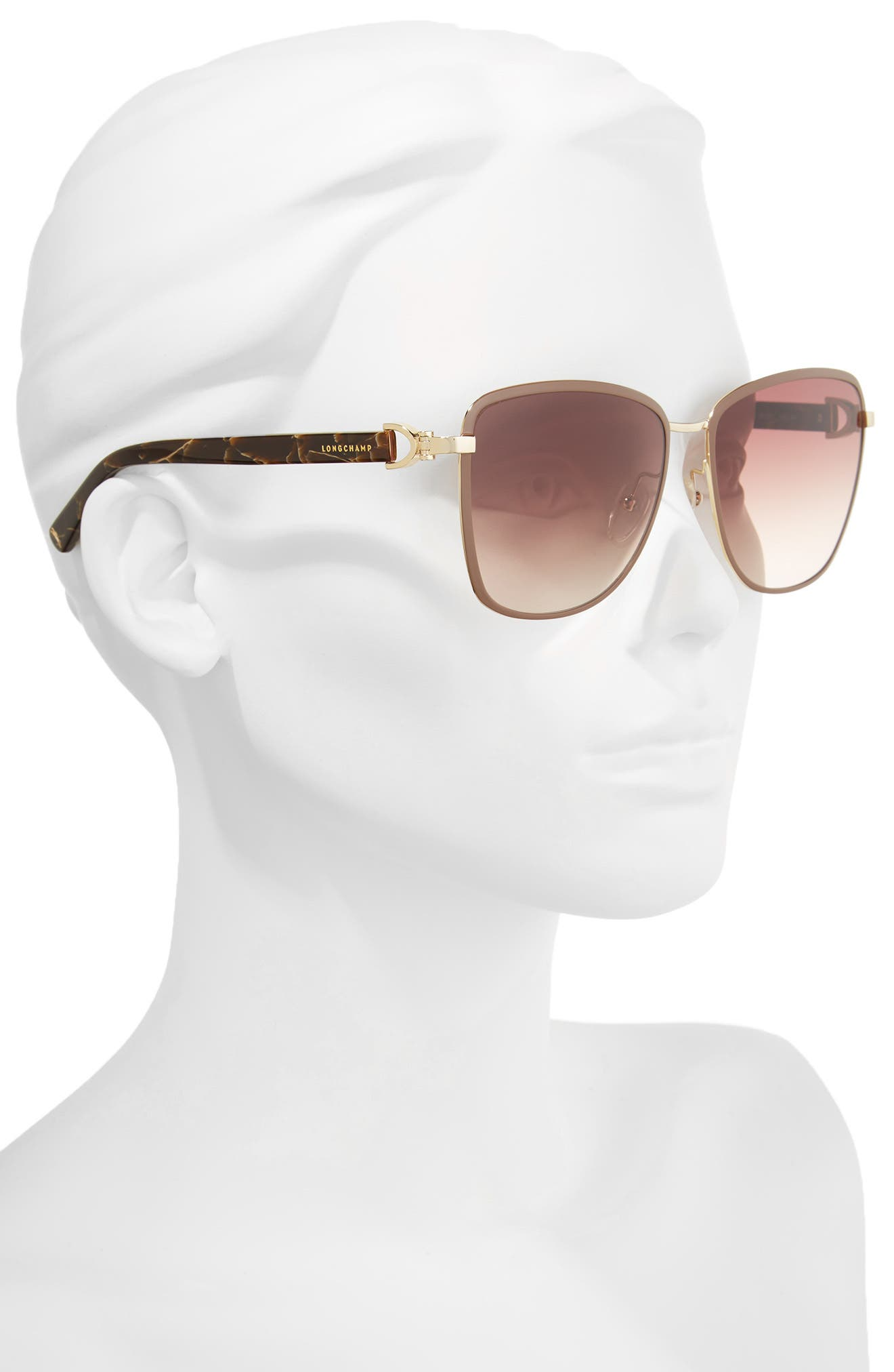 58mm Metal Sunglasses,                             Alternate thumbnail 2, color,                             Gold/ Brown