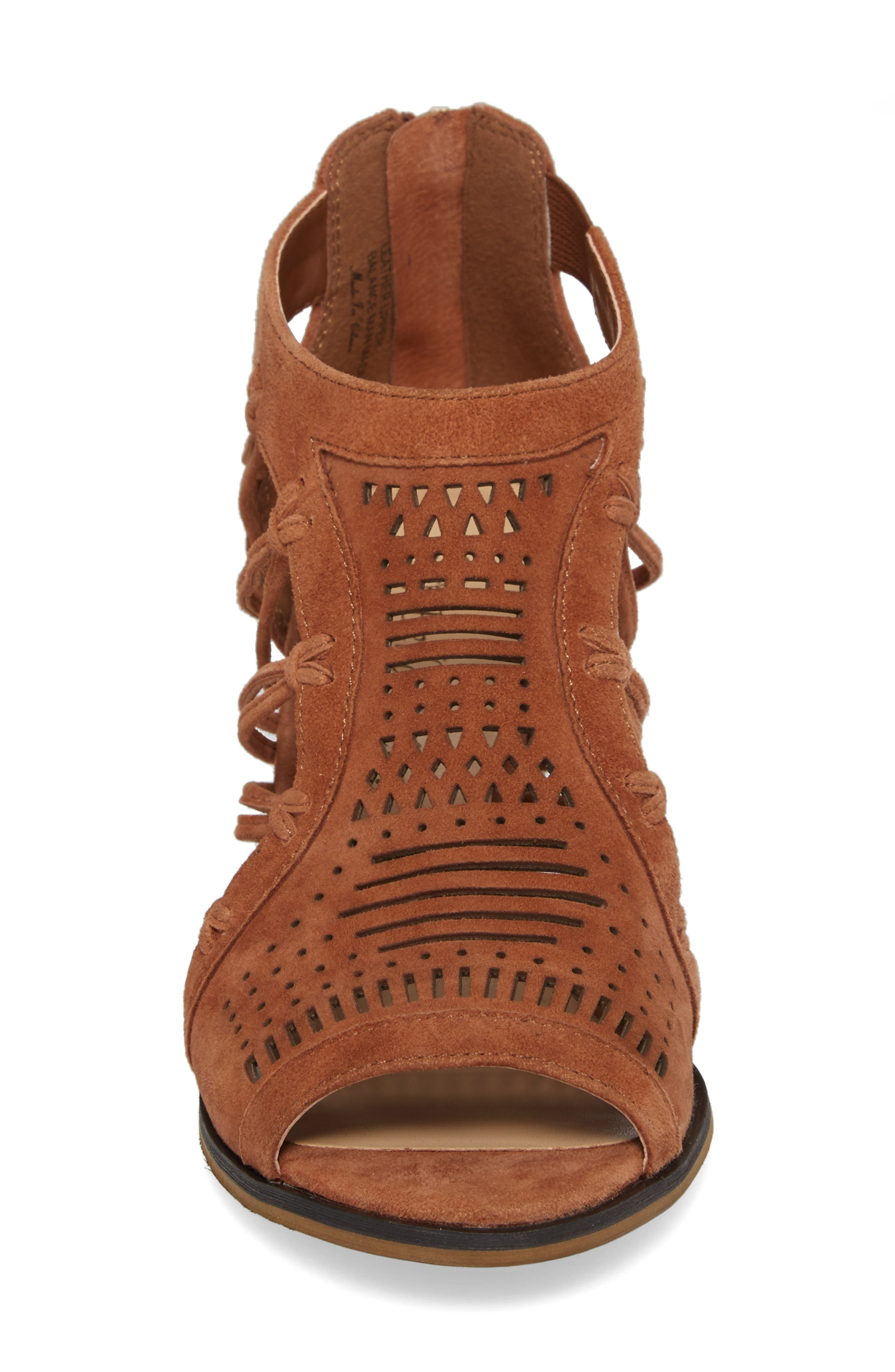 Kortez Block Heel Sandal,                             Alternate thumbnail 4, color,                             Dark Tan Suede