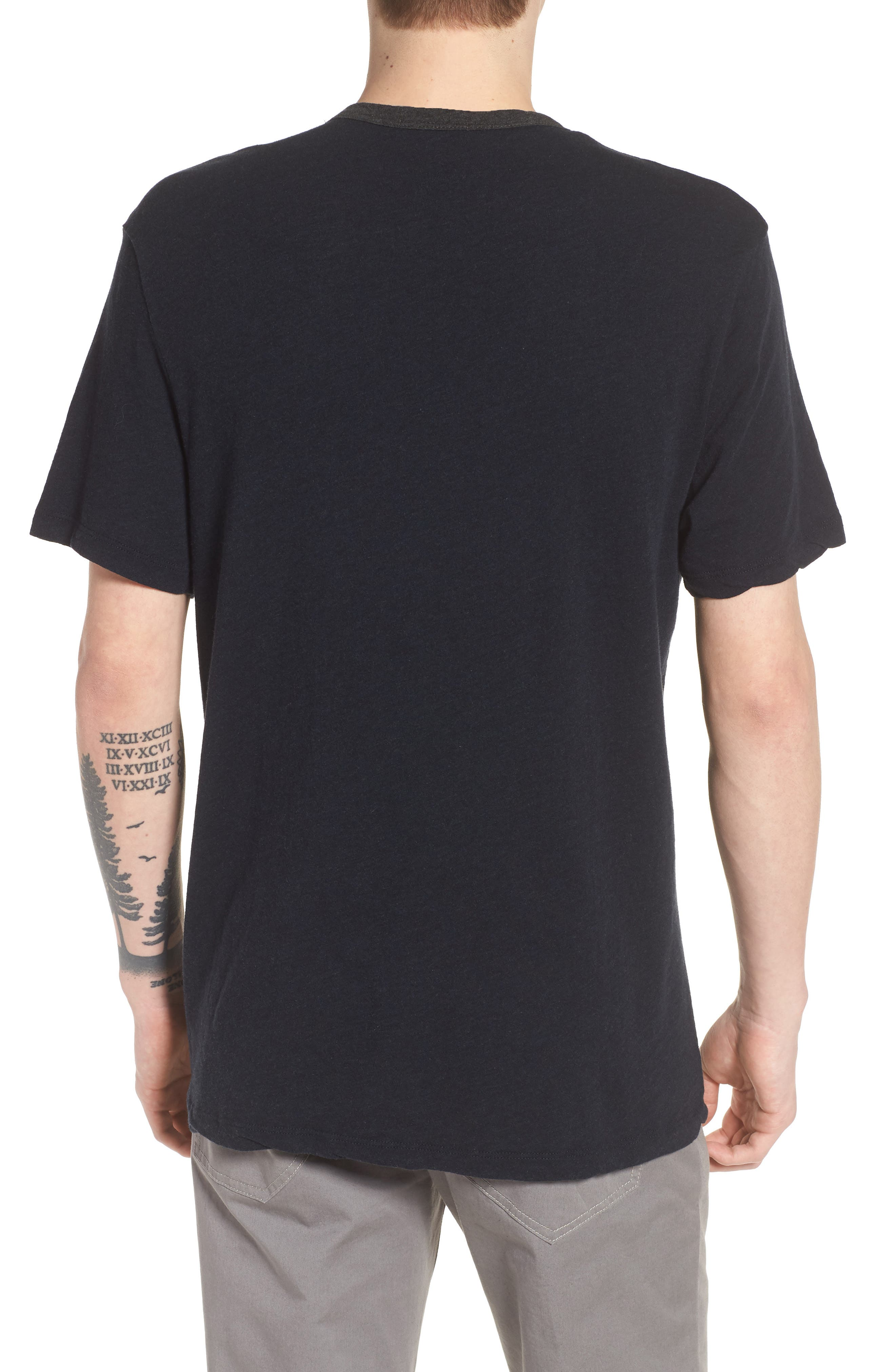 Two-Tone Pocket T-Shirt,                             Alternate thumbnail 2, color,                             Deep Anthracite