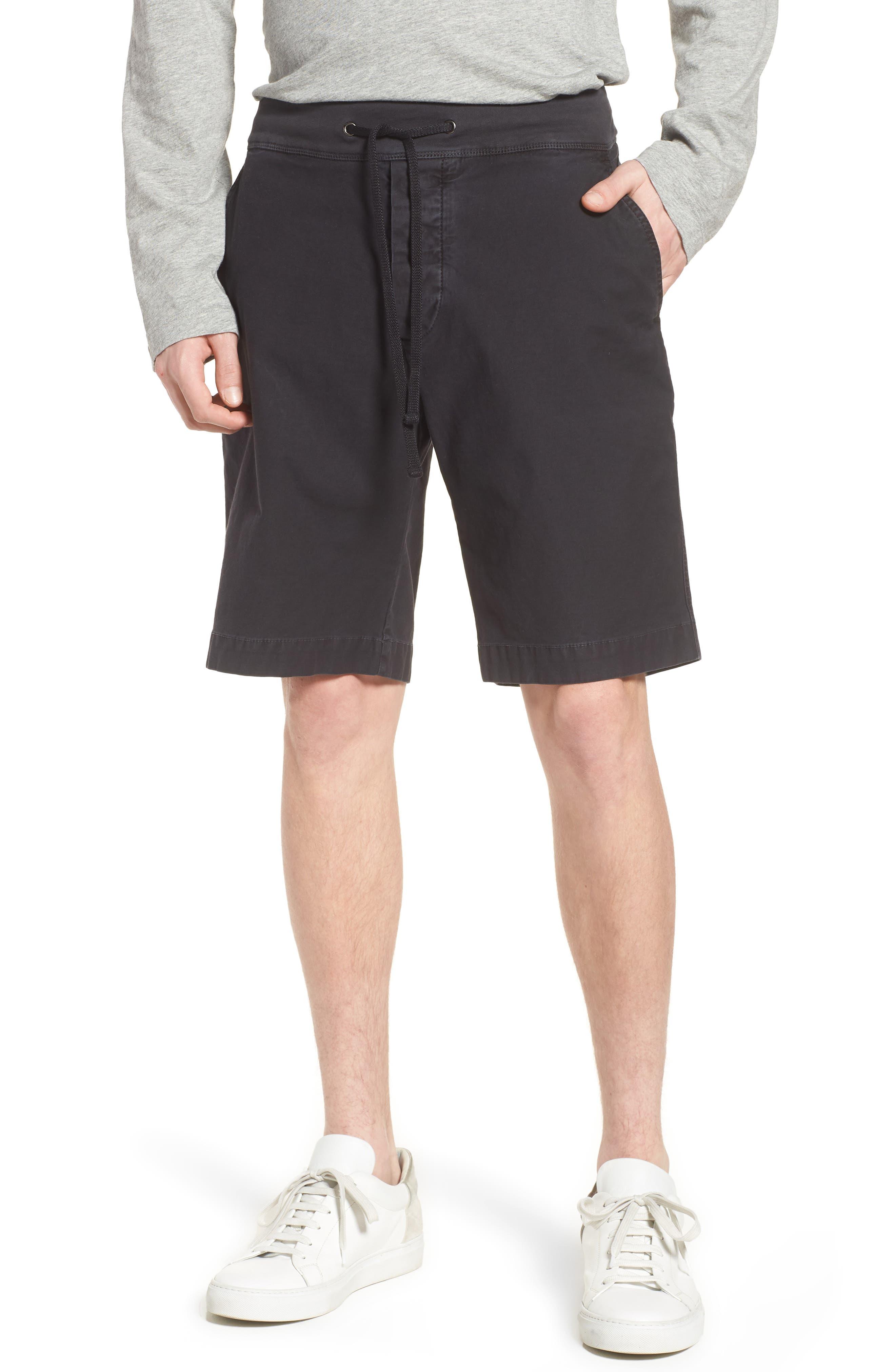 Compact Stretch Cotton Shorts,                         Main,                         color, Carbon Pigment