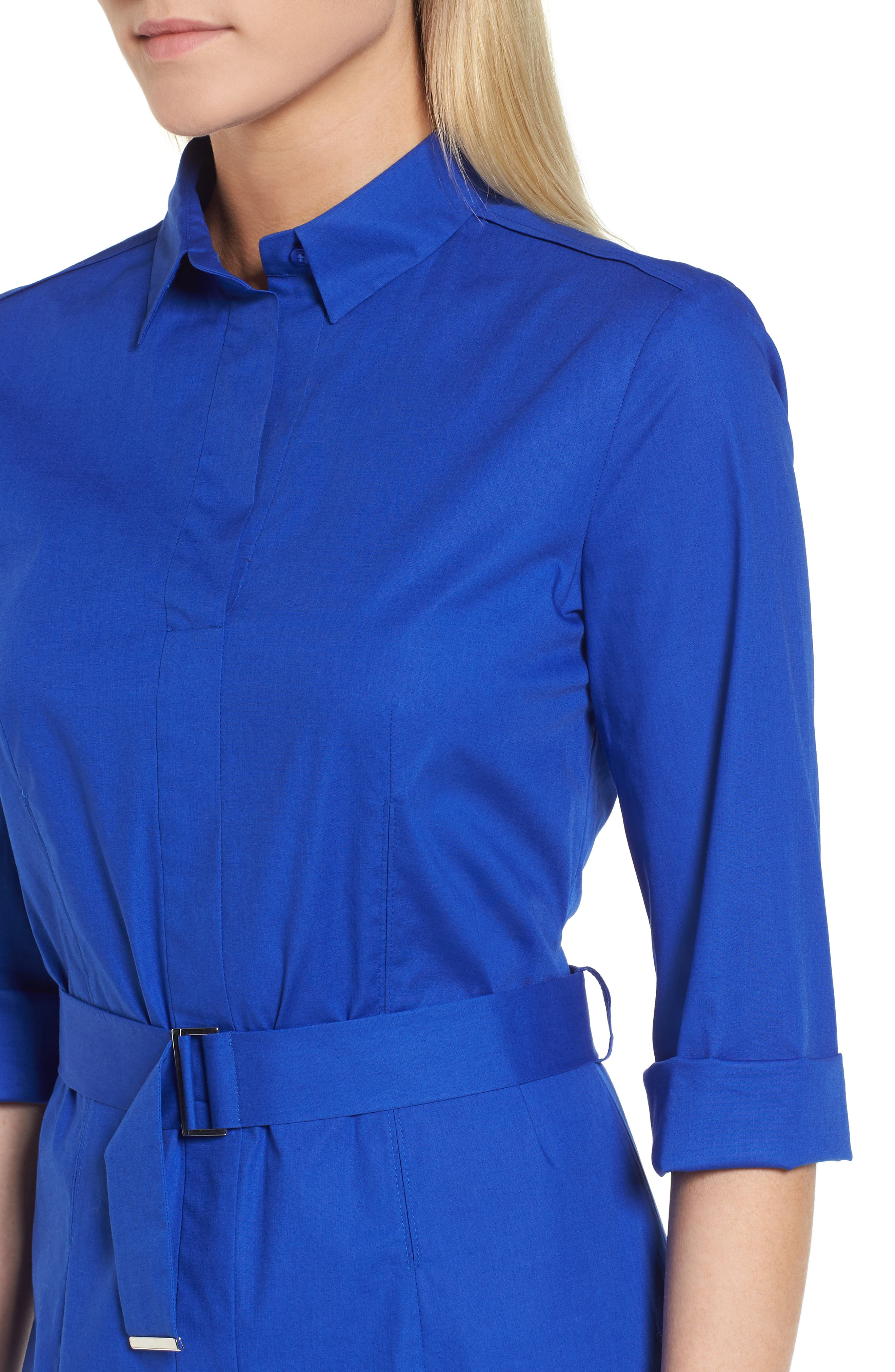 Dashir Stretch Cotton Shirtdress,                             Alternate thumbnail 4, color,                             Sailor Blue