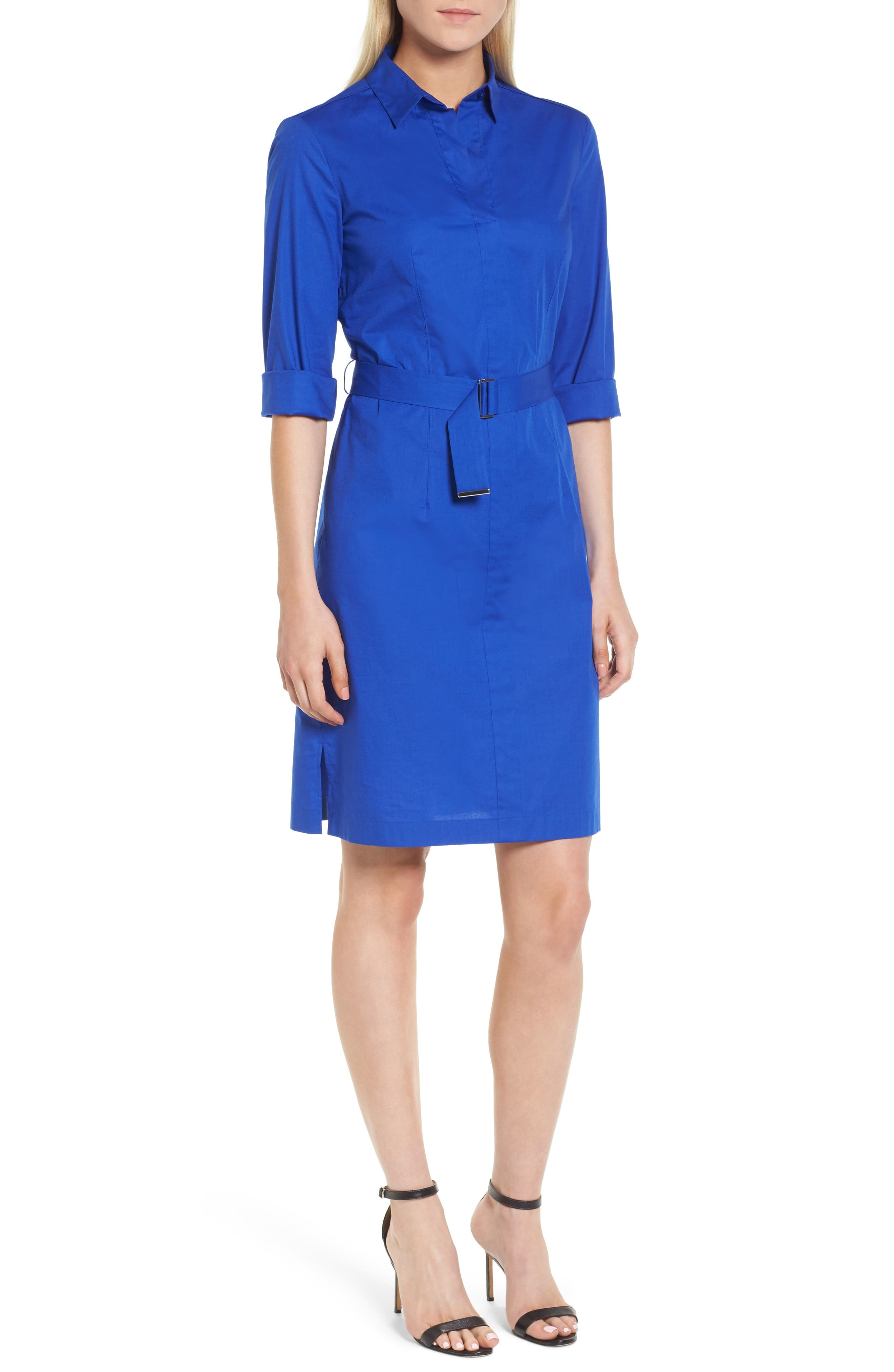 Dashir Stretch Cotton Shirtdress,                             Main thumbnail 1, color,                             Sailor Blue