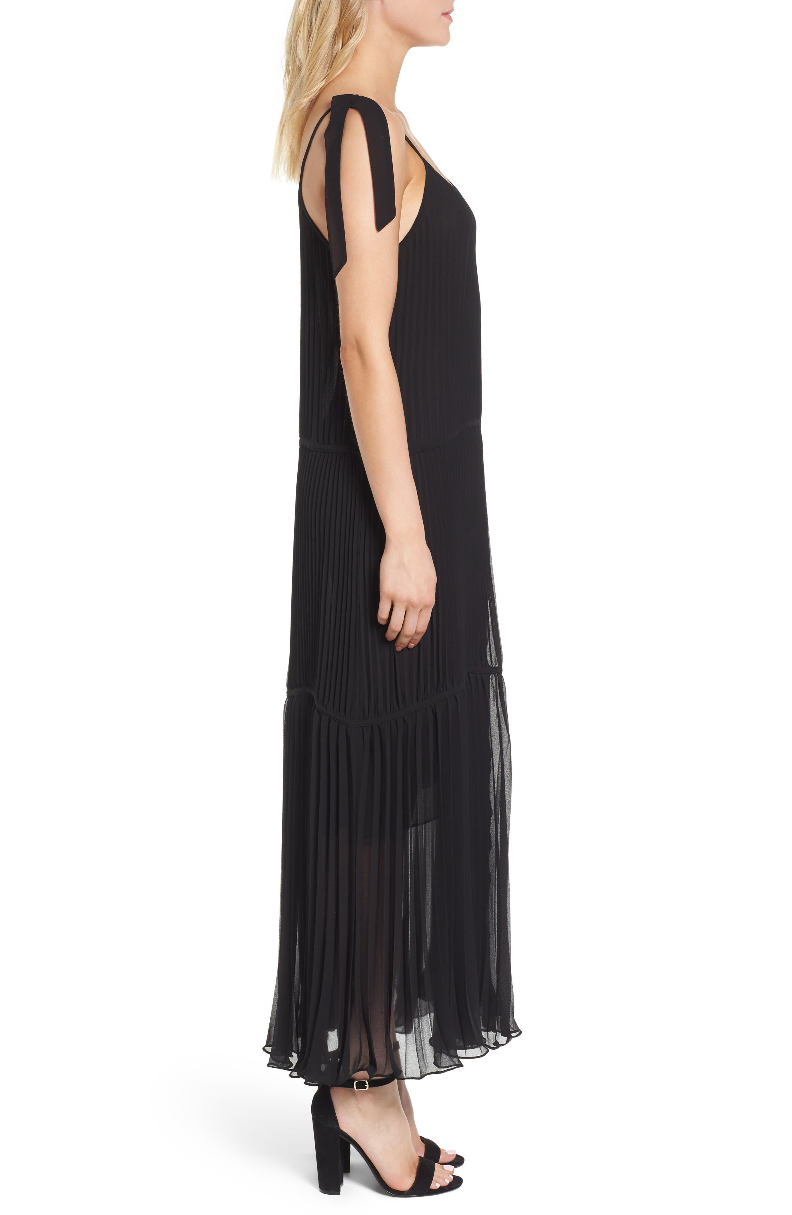 Chiffon Maxi Dress,                             Alternate thumbnail 3, color,                             Black