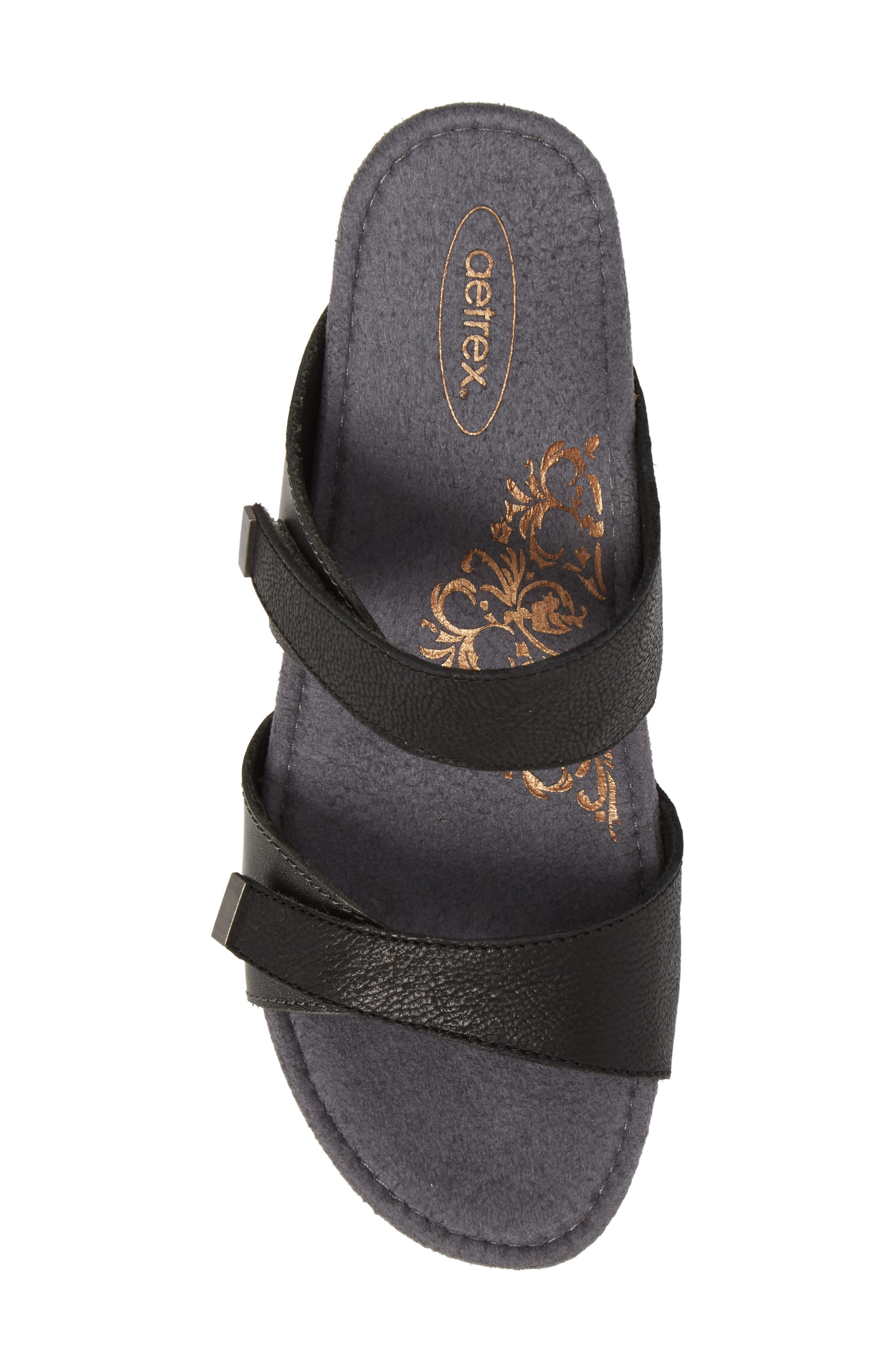 Chantel Wedge Sandal,                             Alternate thumbnail 5, color,                             Black Leather