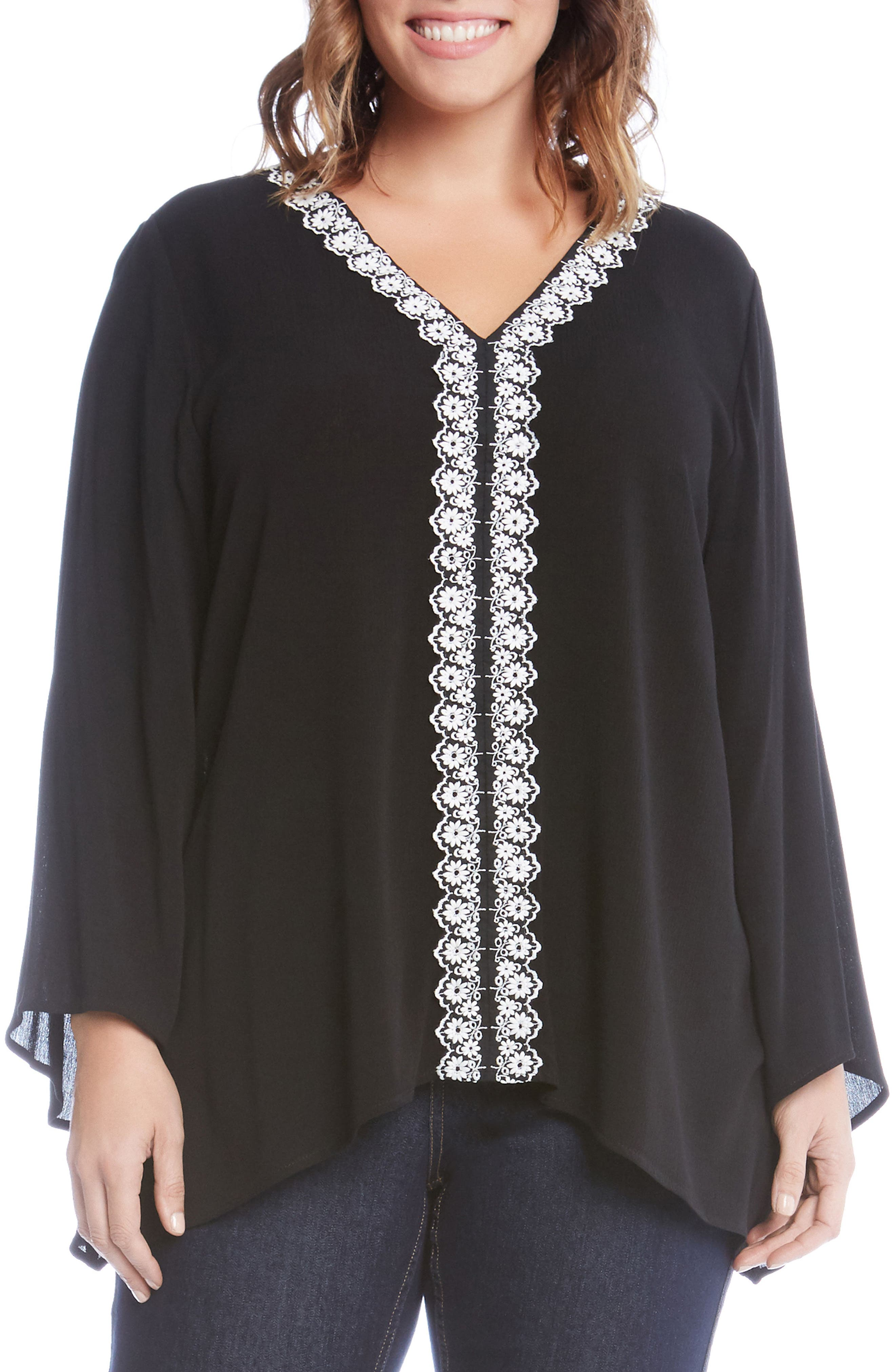 Embroidered High/Low Top,                         Main,                         color, Black