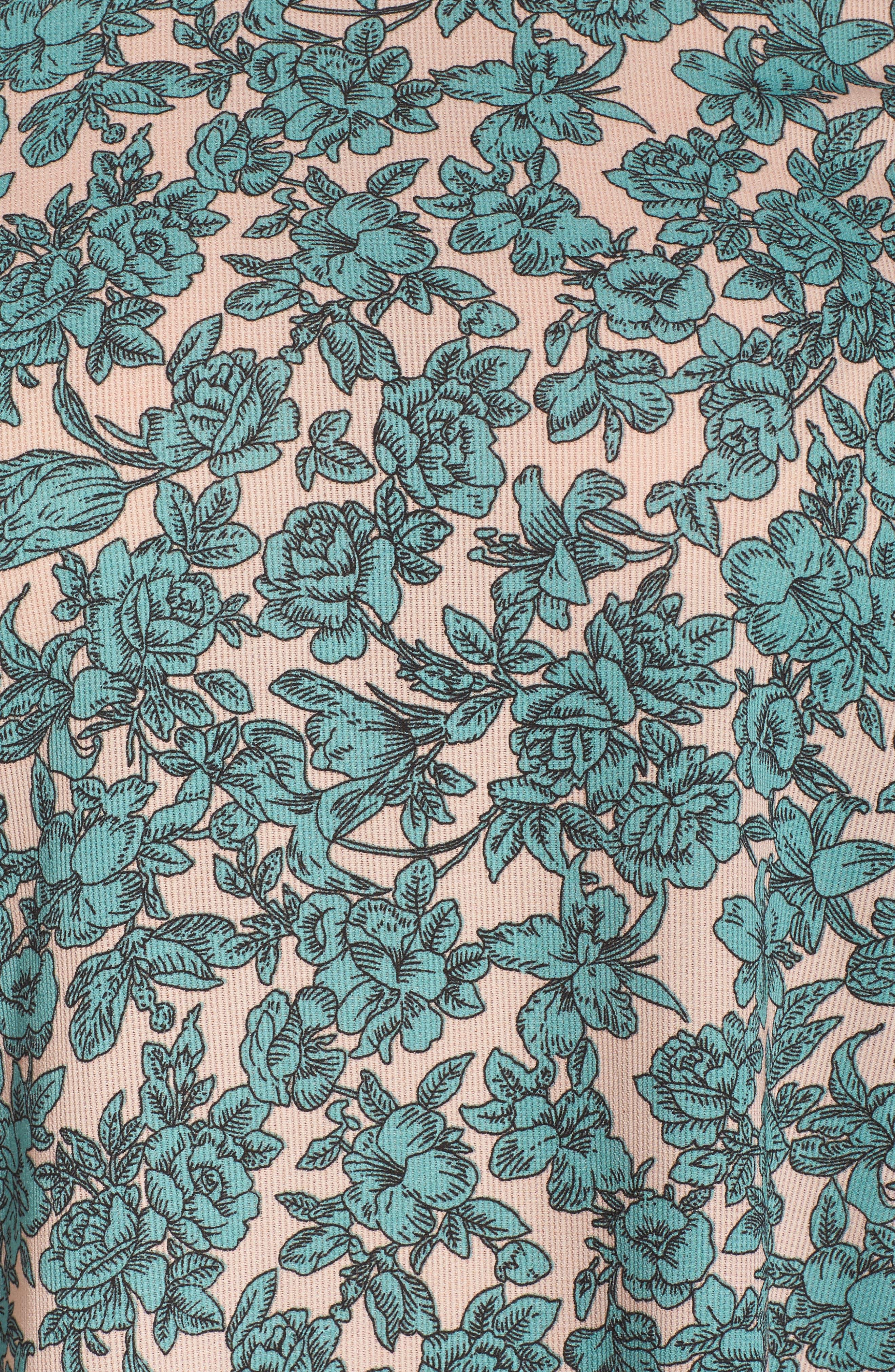 Floral Shift Dress,                             Alternate thumbnail 5, color,                             Sage Green Floral