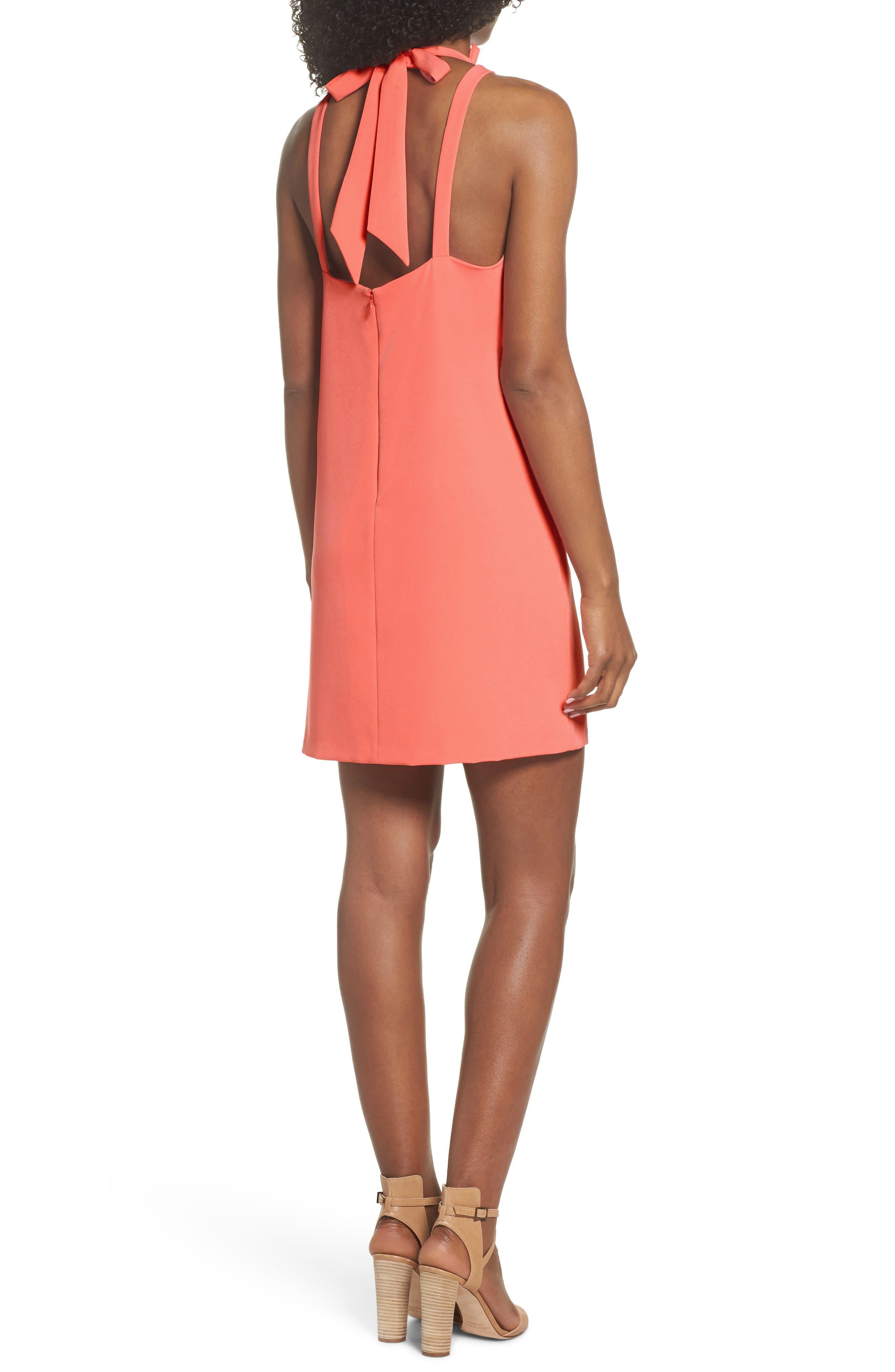Halter Shift Dress,                             Alternate thumbnail 2, color,                             Sun Salmon