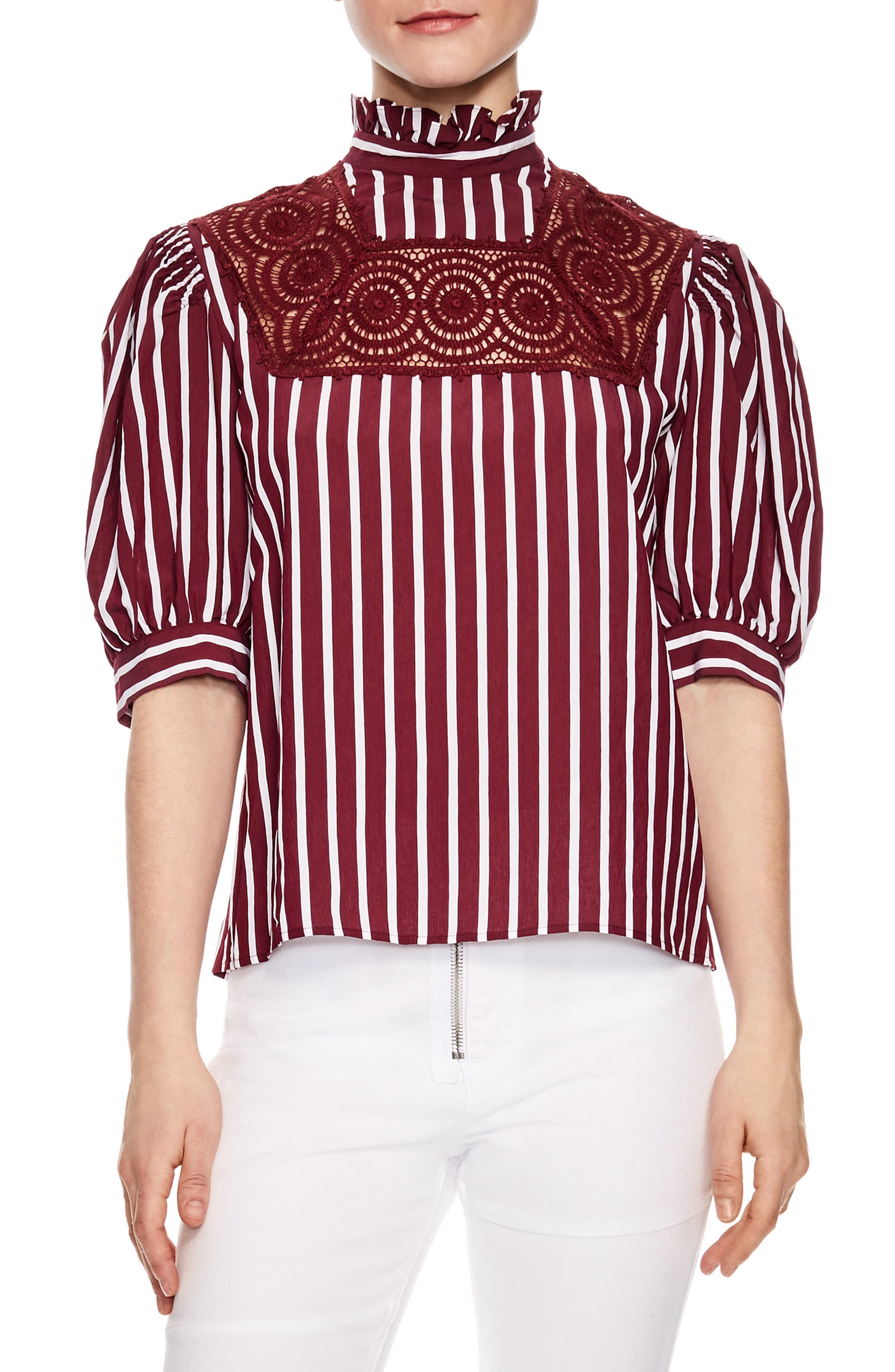 sandro Lace Inset Puff Sleeve Top