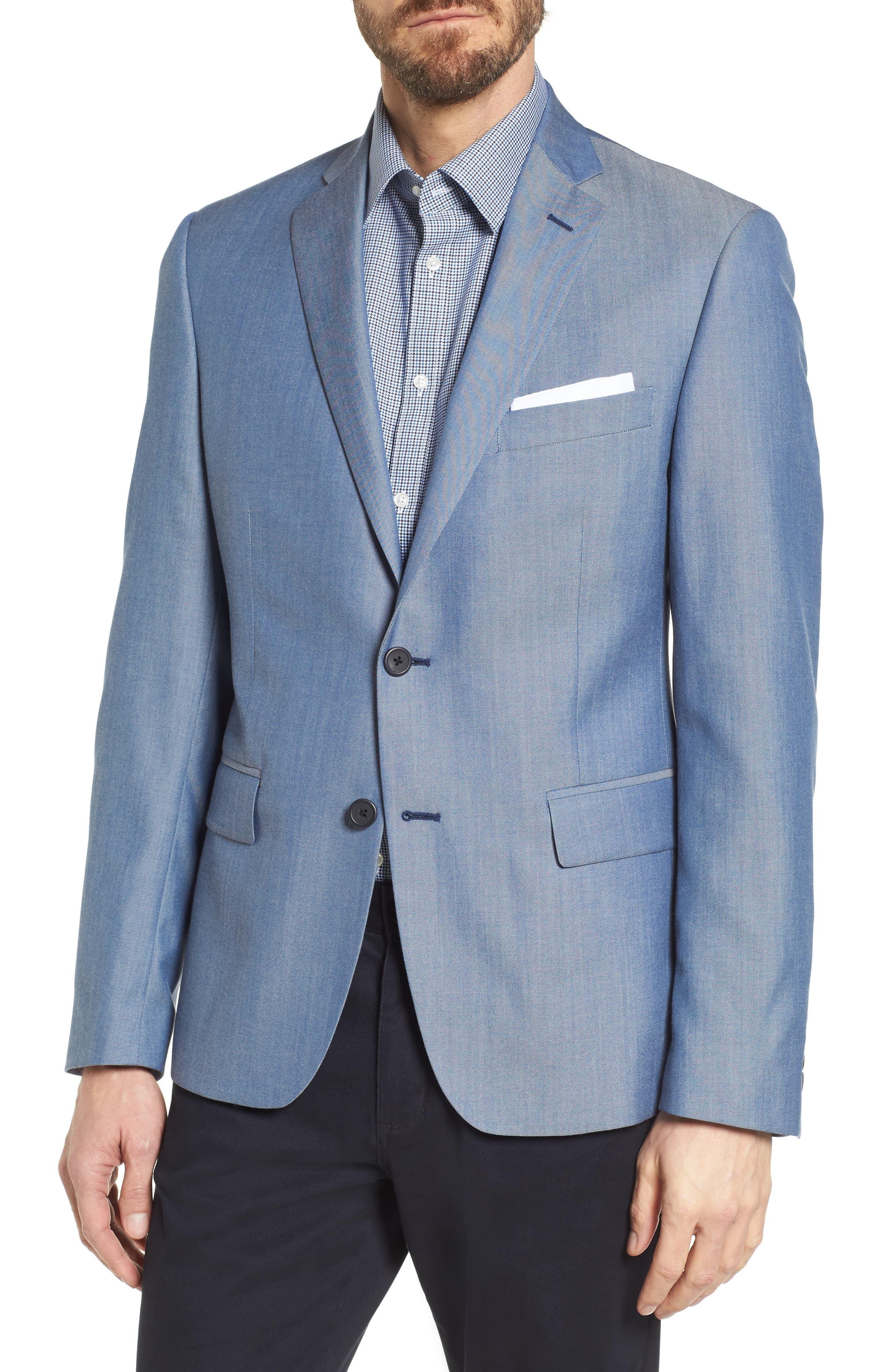Trim Fit Wool & Cotton Blazer,                         Main,                         color, Blue Denim