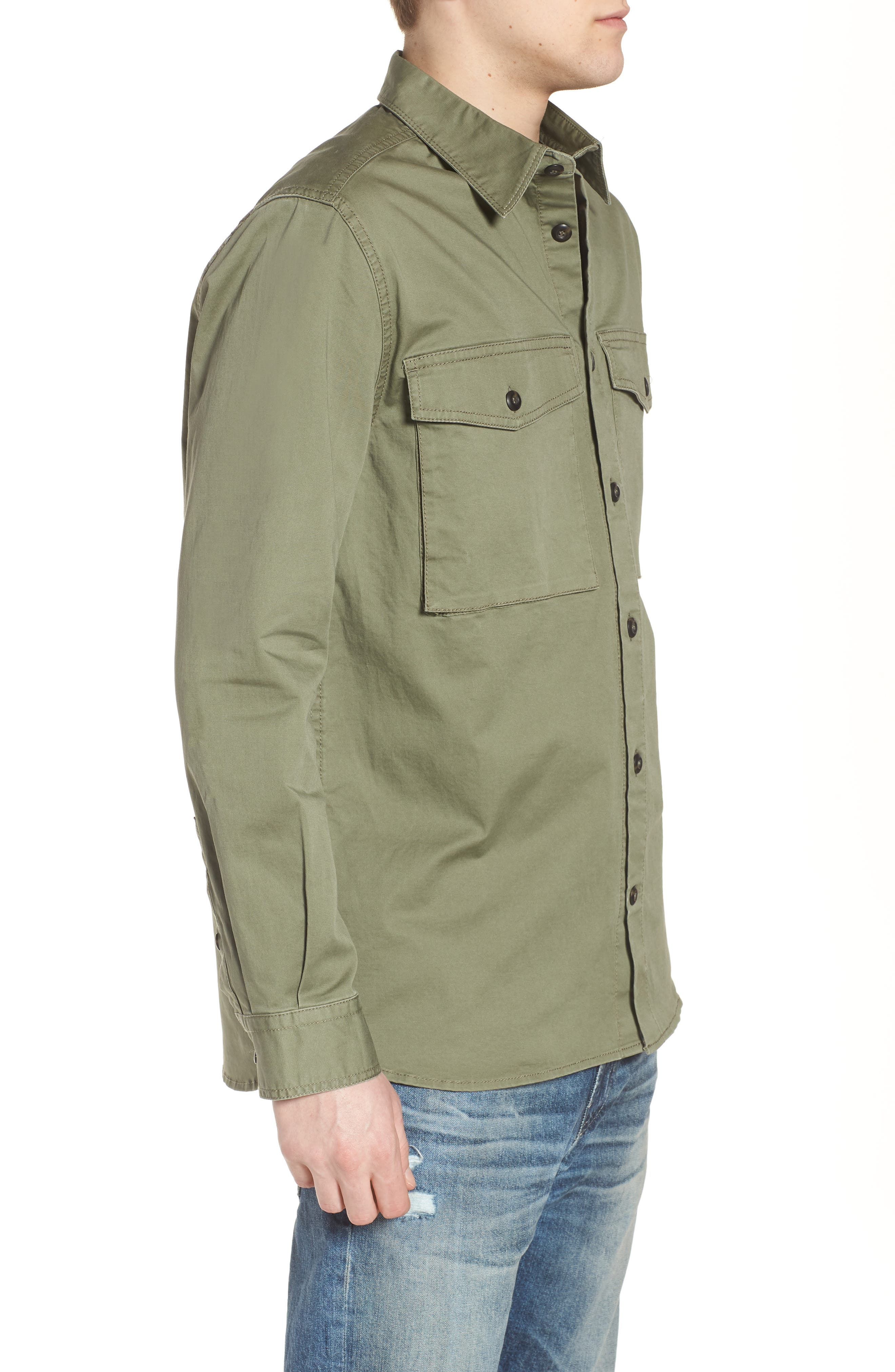 Twill Military Shirt Jacket,                             Alternate thumbnail 3, color,                             Deep Lichen Green