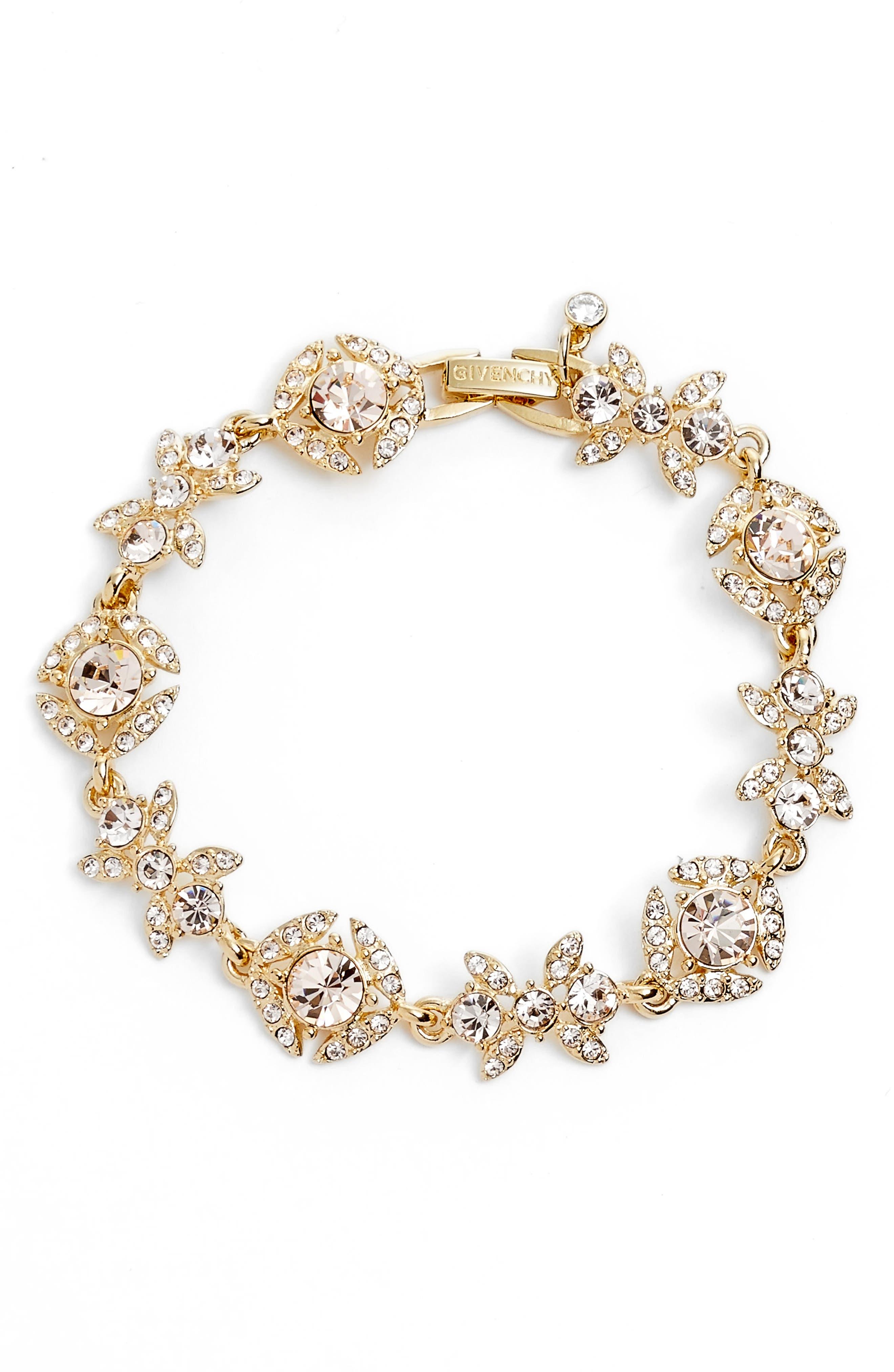 Crystal Bracelet,                         Main,                         color, Gold/ Silk
