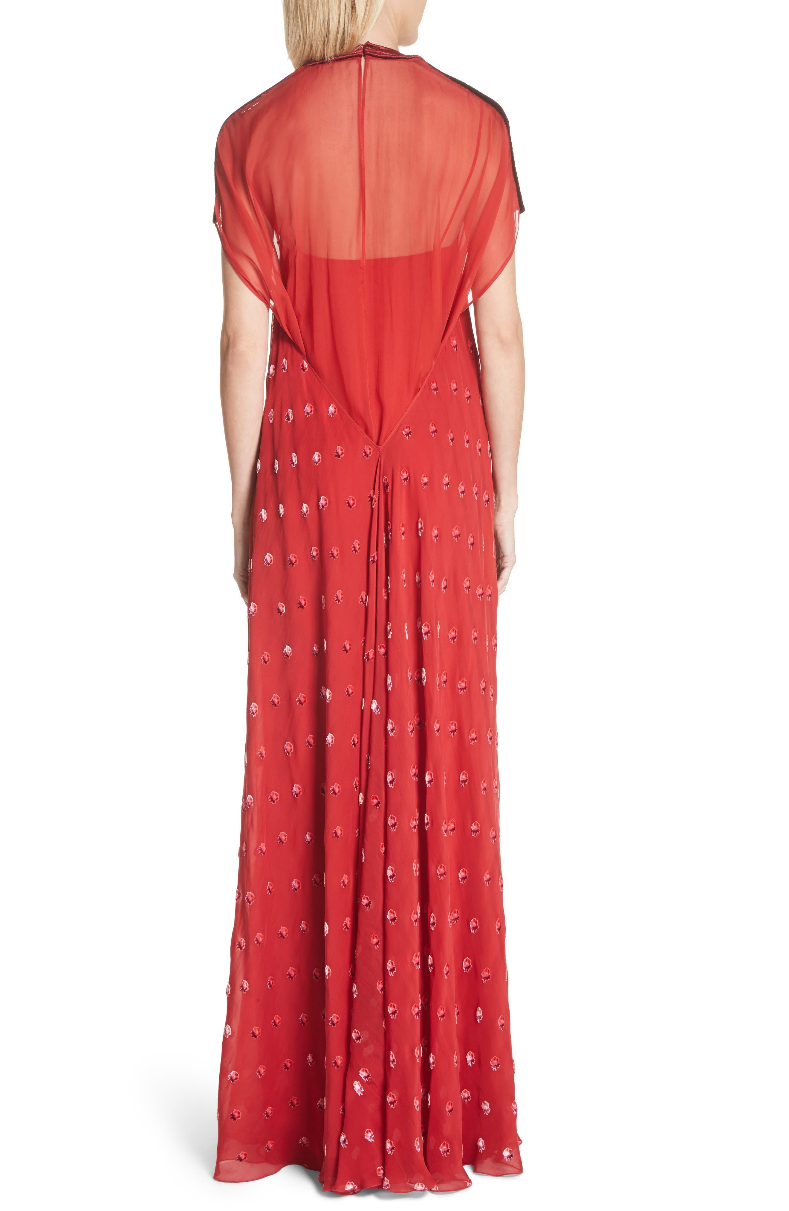 Devoré Rosebud Silk Gown,                             Alternate thumbnail 2, color,                             Red