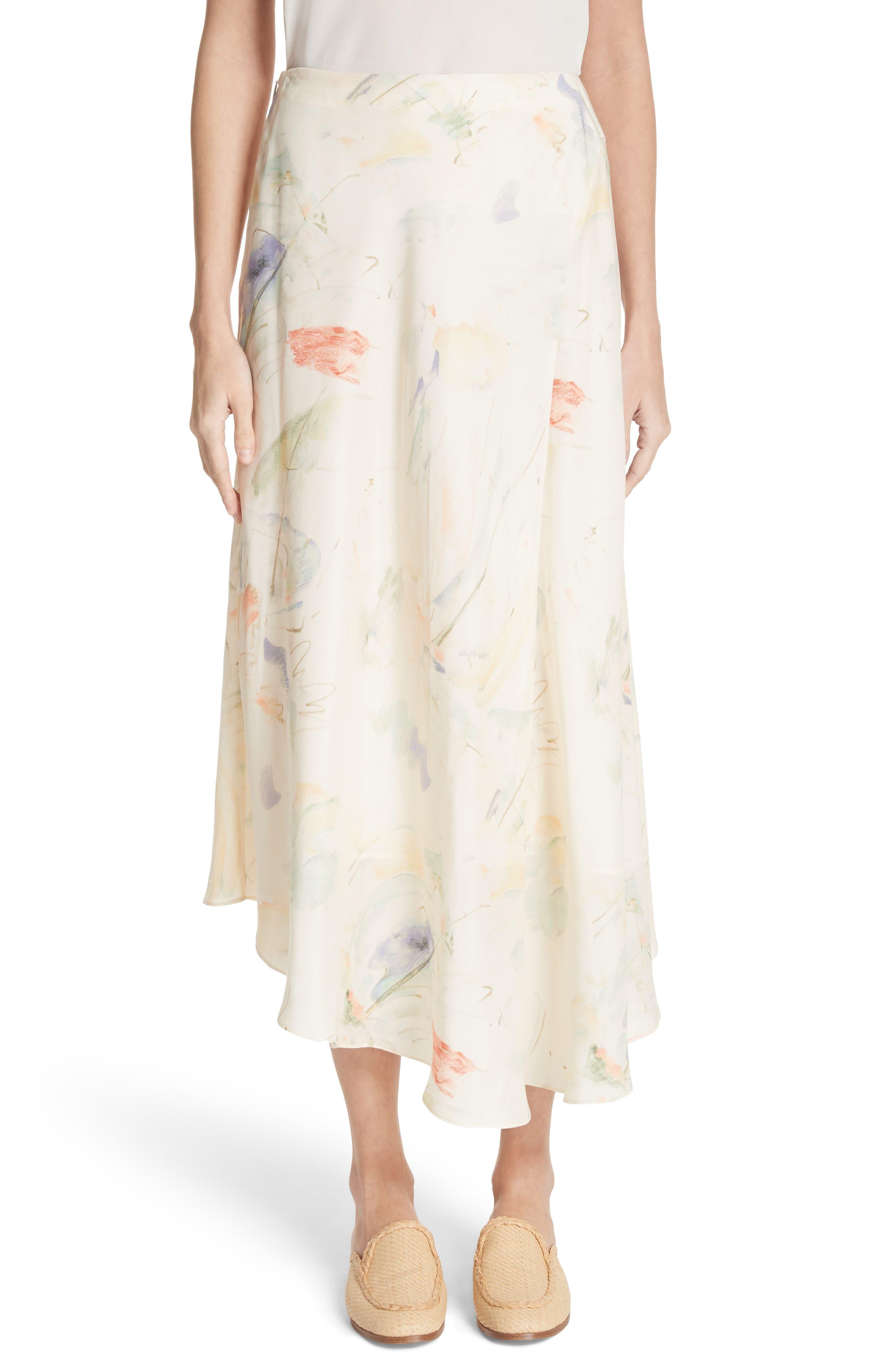 Dessie Modern Muse Print Silk Midi Skirt,                             Main thumbnail 1, color,                             Raffia Multi