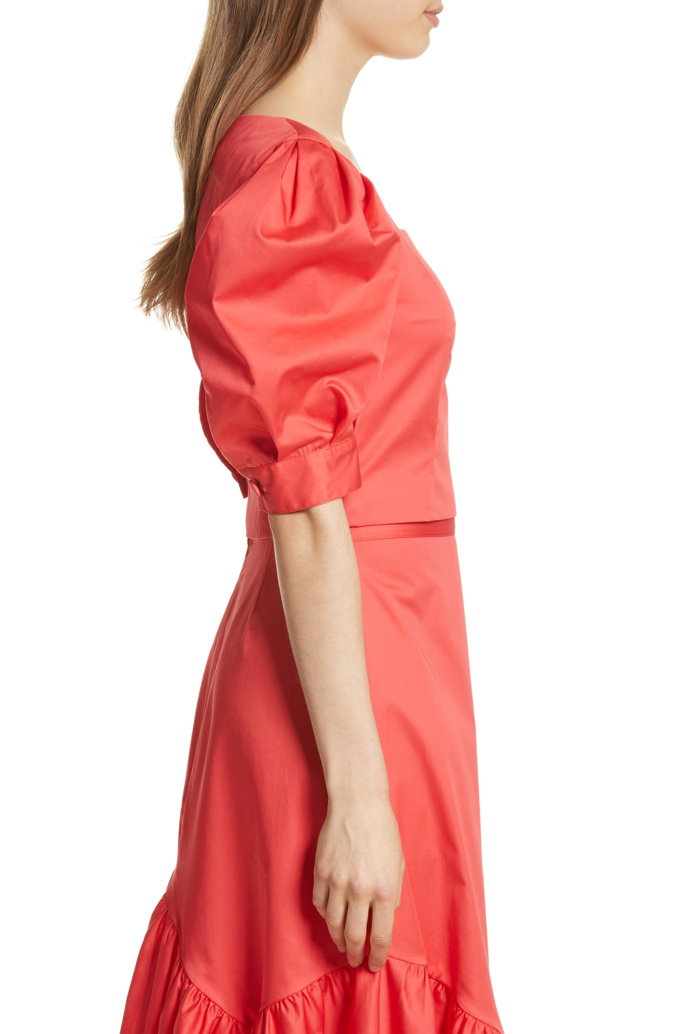 Prose & Poetry Claudia Puff Sleeve Top,                             Alternate thumbnail 3, color,                             Watermelon