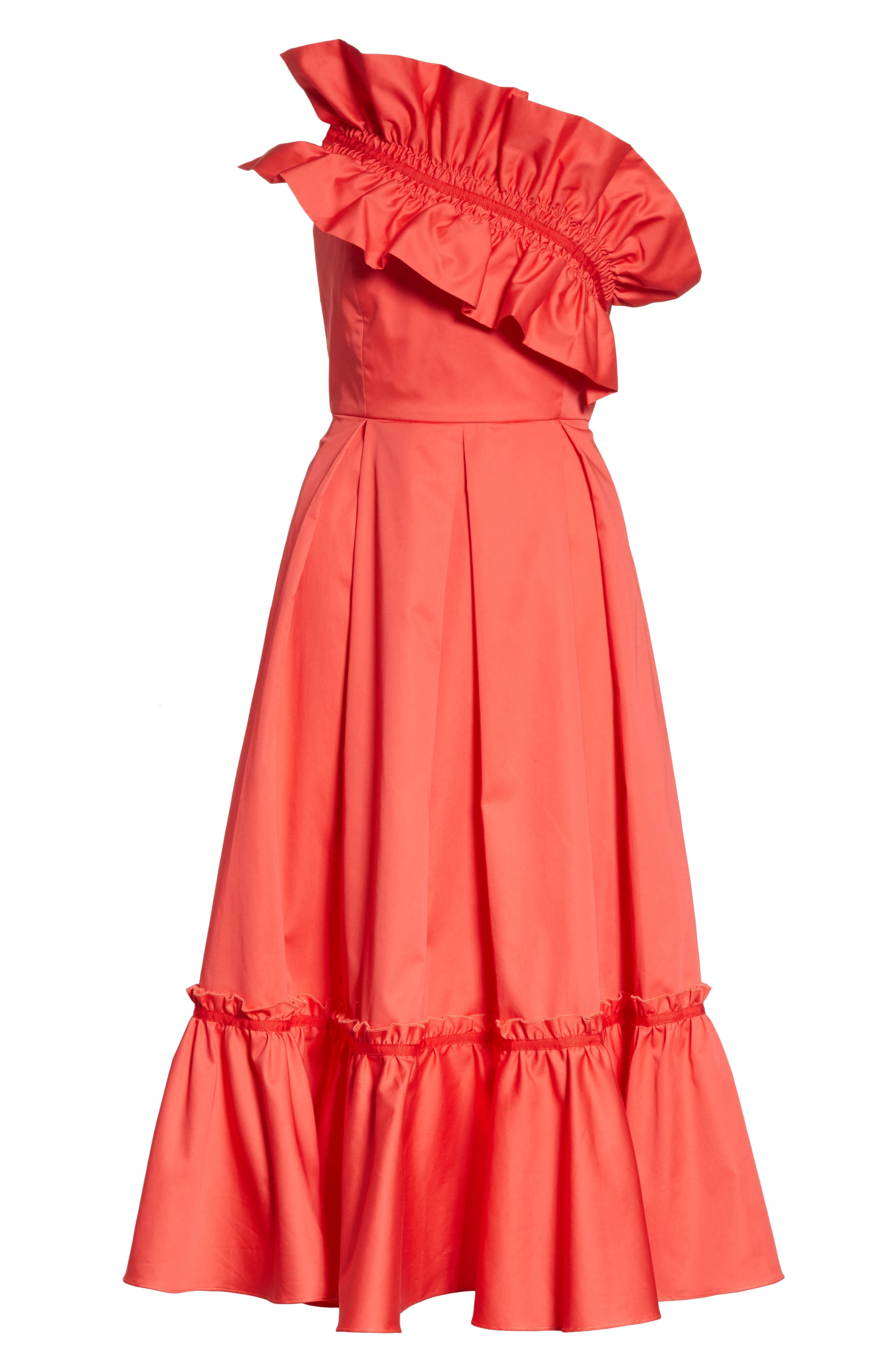 Prose & Poetry Harlow Ruffle Trim Strapless Dress,                             Alternate thumbnail 6, color,                             Watermelon