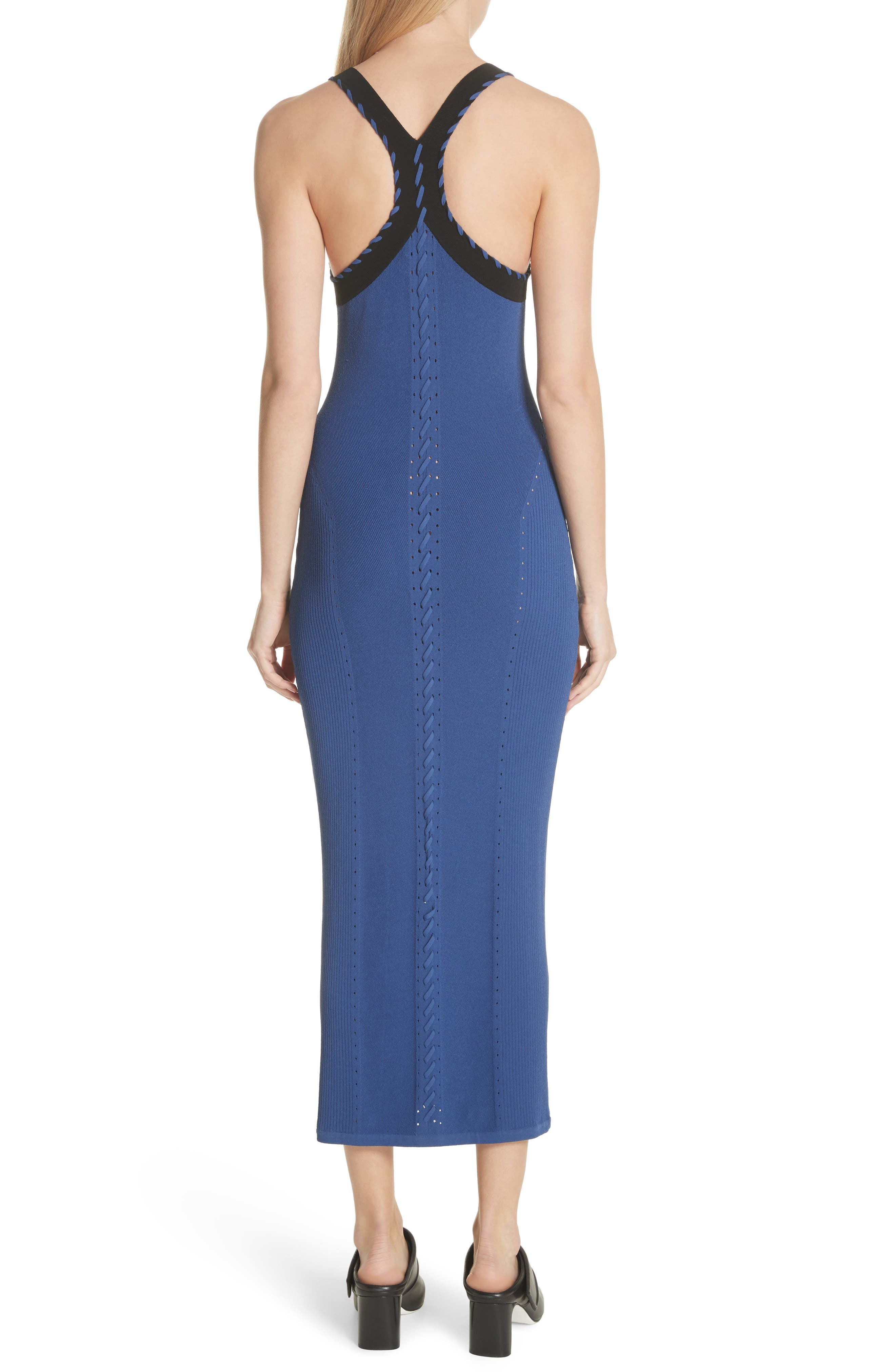 Brandy Whipstitch Detail Midi Dress,                             Alternate thumbnail 2, color,                             Blue