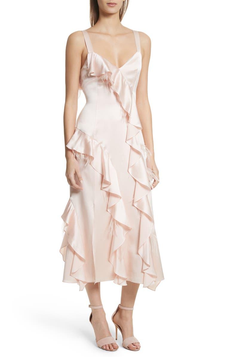 Gigi Ruffle  Ostrich Feather Silk Dress