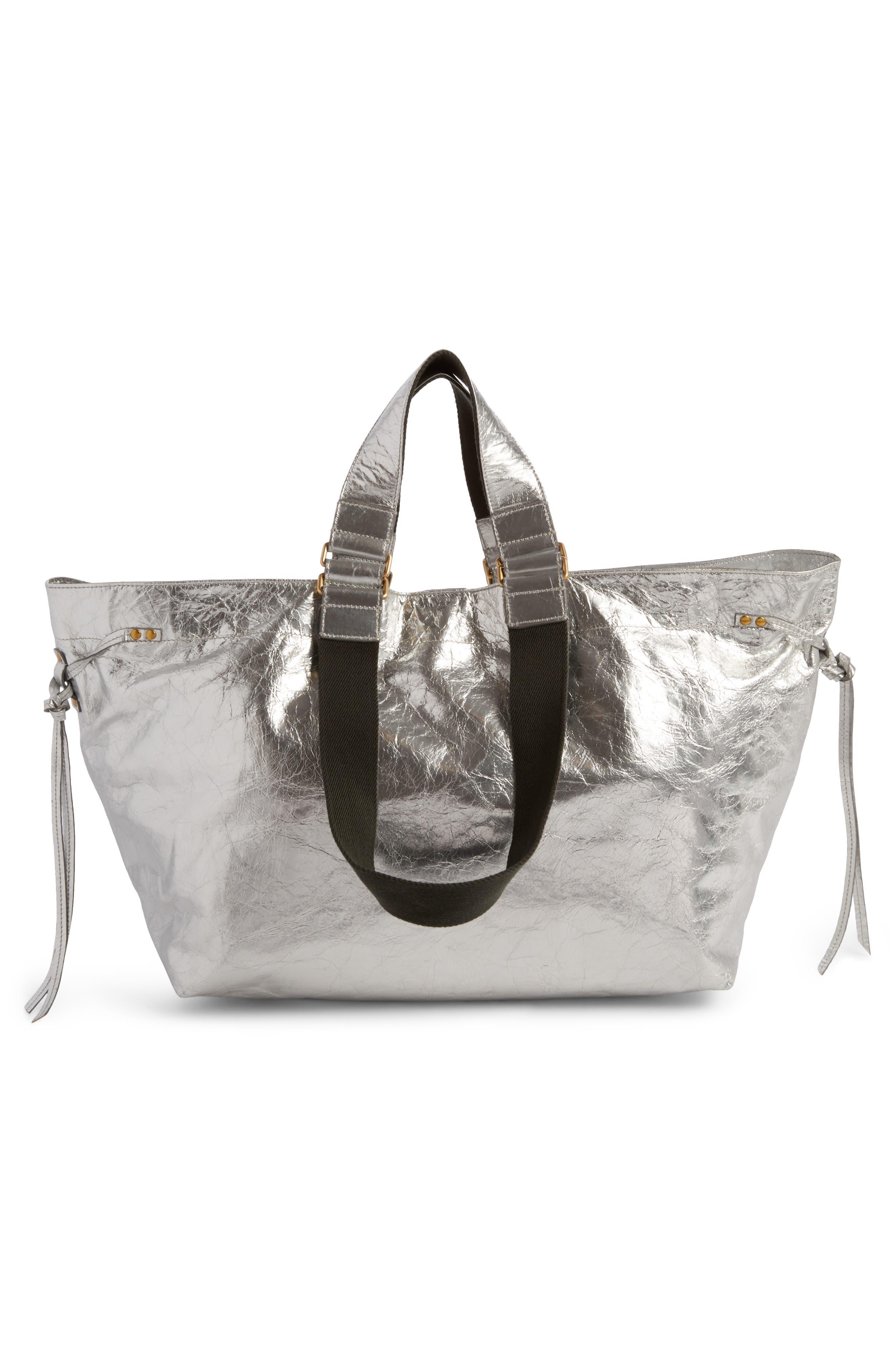 Wardy Metallic Leather Shopper,                             Alternate thumbnail 2, color,                             Silver