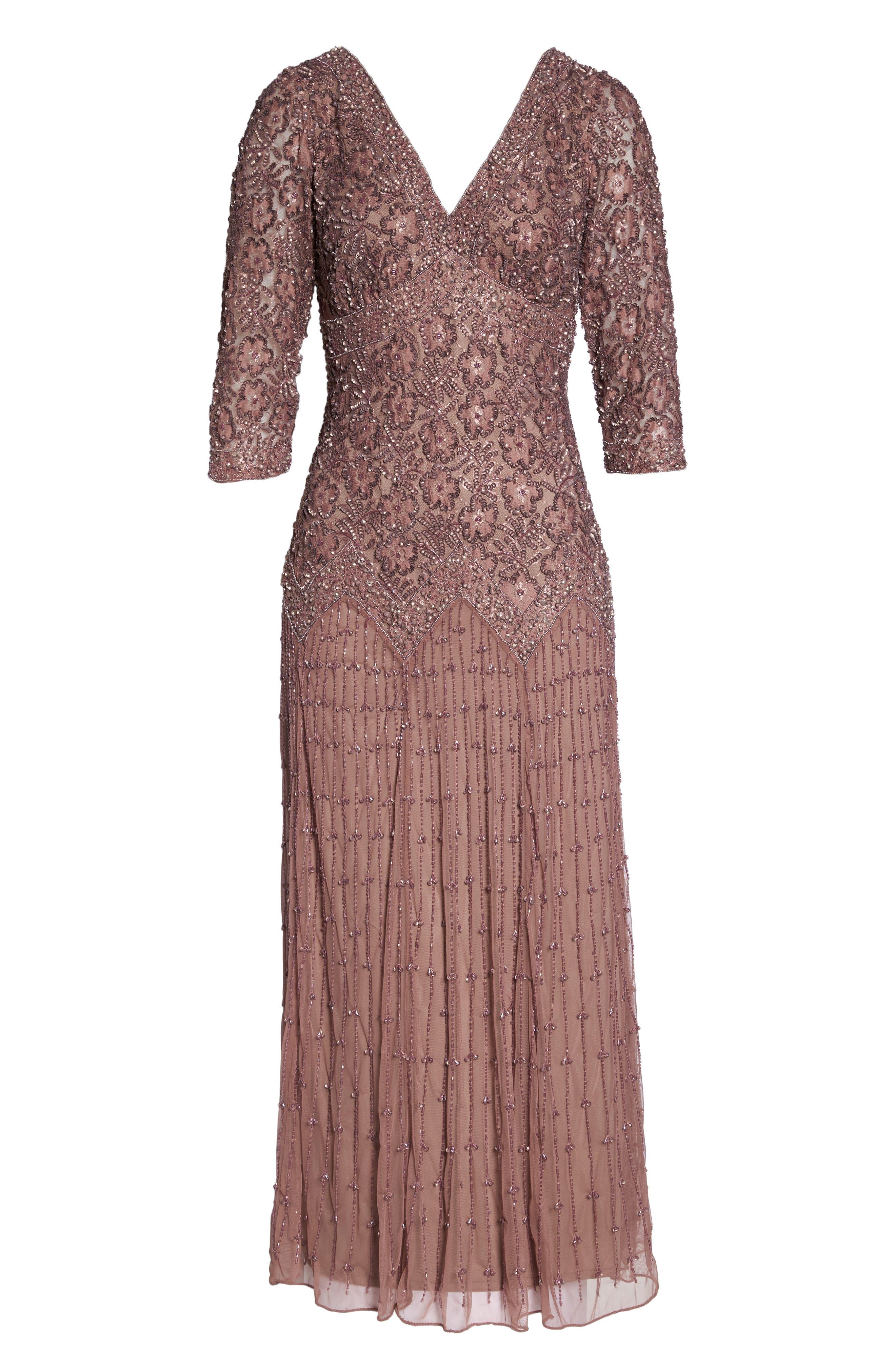 Alternate Image 6  - Pisarro Nights Beaded Mesh Dress (Regular & Petite)