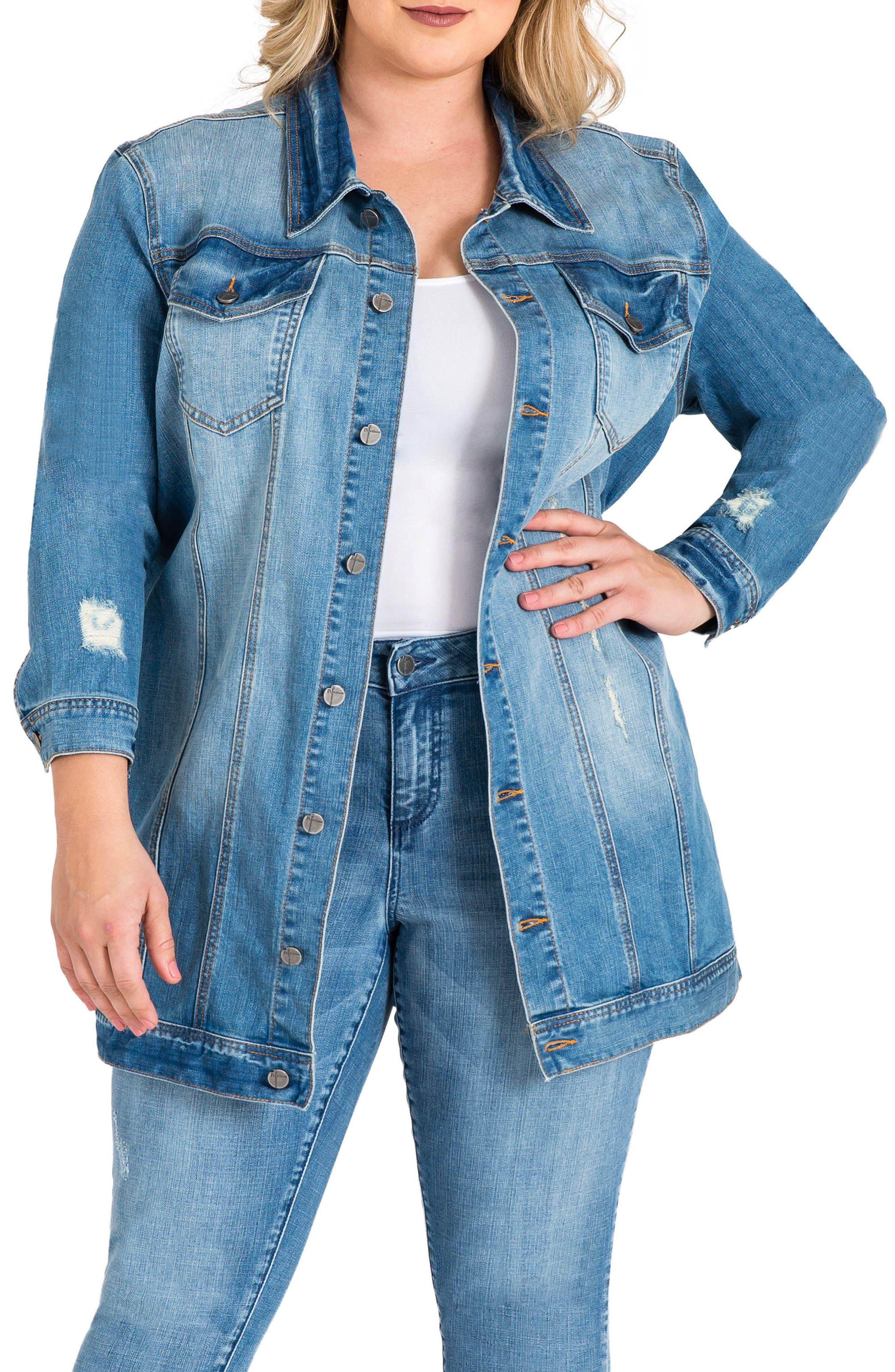 Margot Longline Denim Jacket,                             Main thumbnail 1, color,                             Light Blue