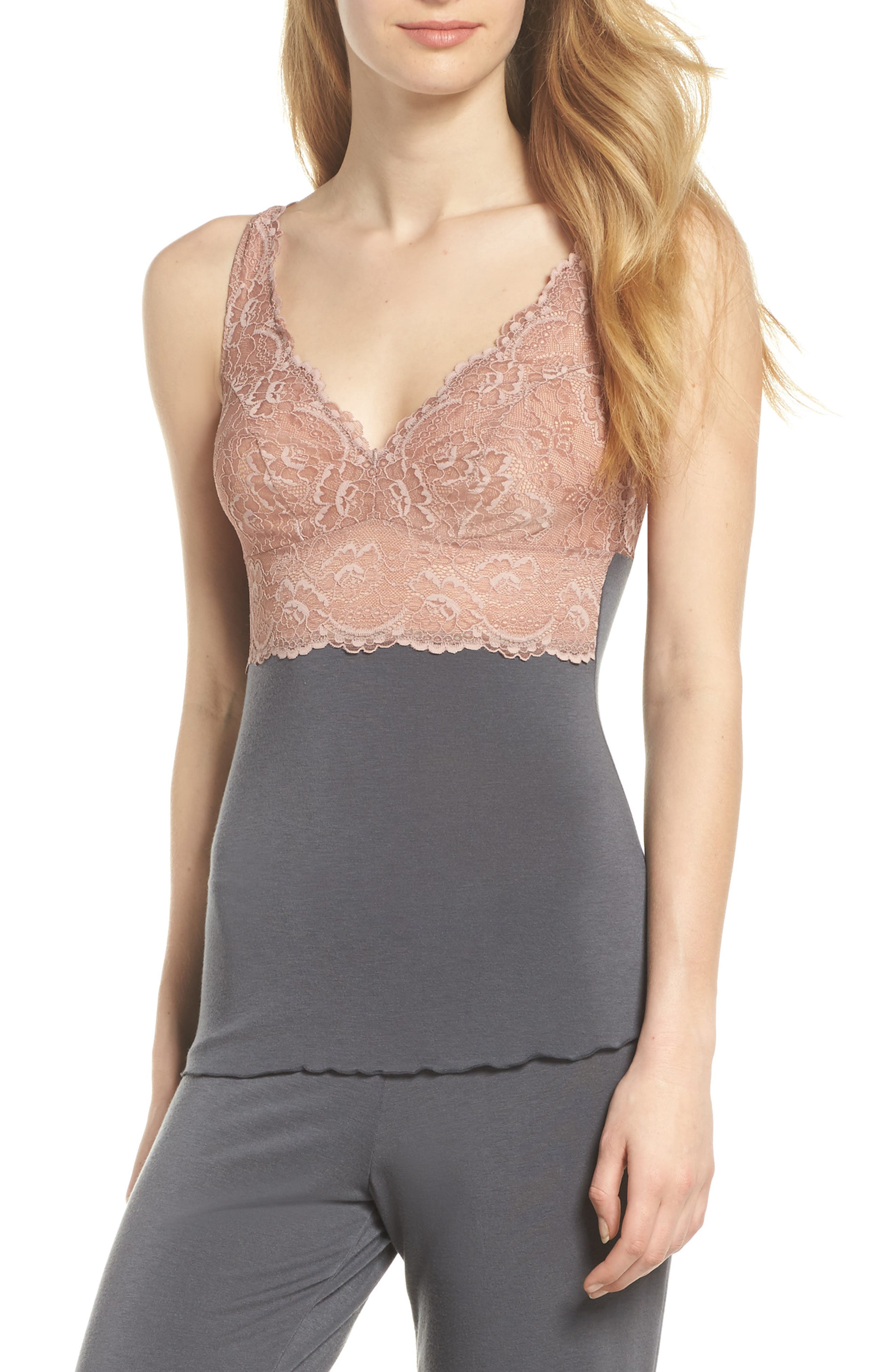 Built Up Camisole,                         Main,                         color, Slate With Java Lace