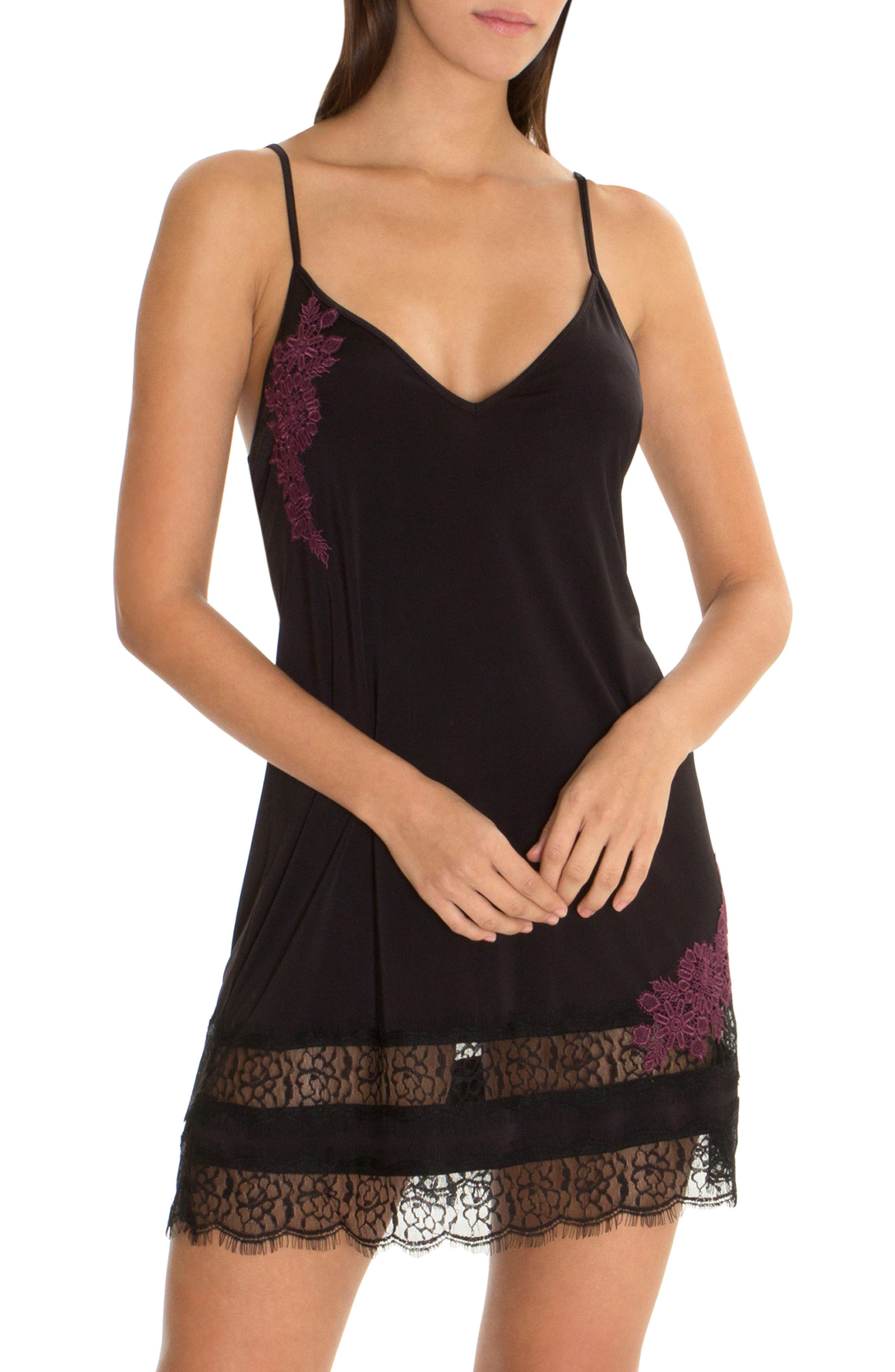 Lace Trim Knit Chemise,                         Main,                         color, Black