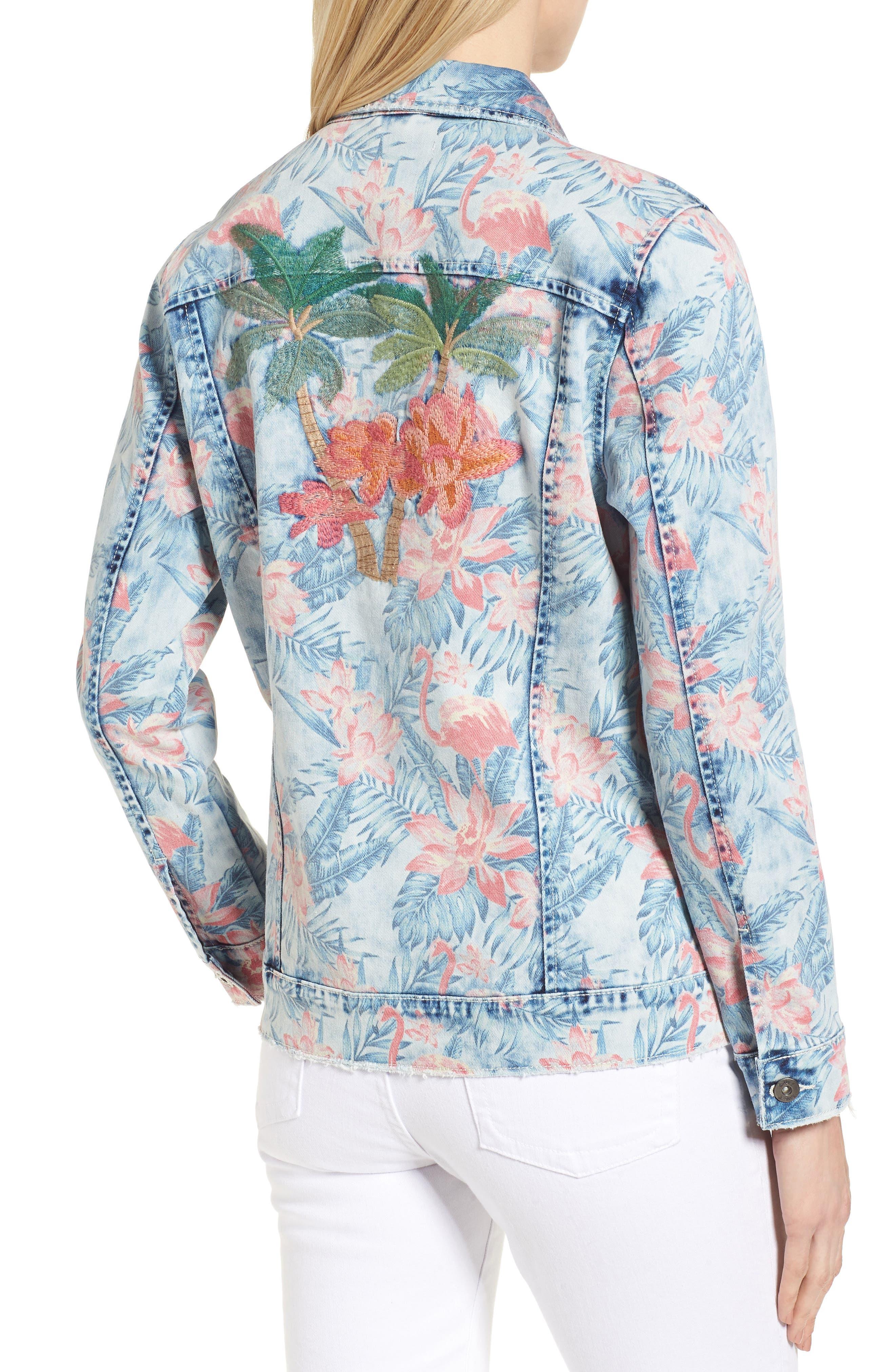 Embroidered Floral Denim Jacket,                             Alternate thumbnail 2, color,                             Light Blue Paradise