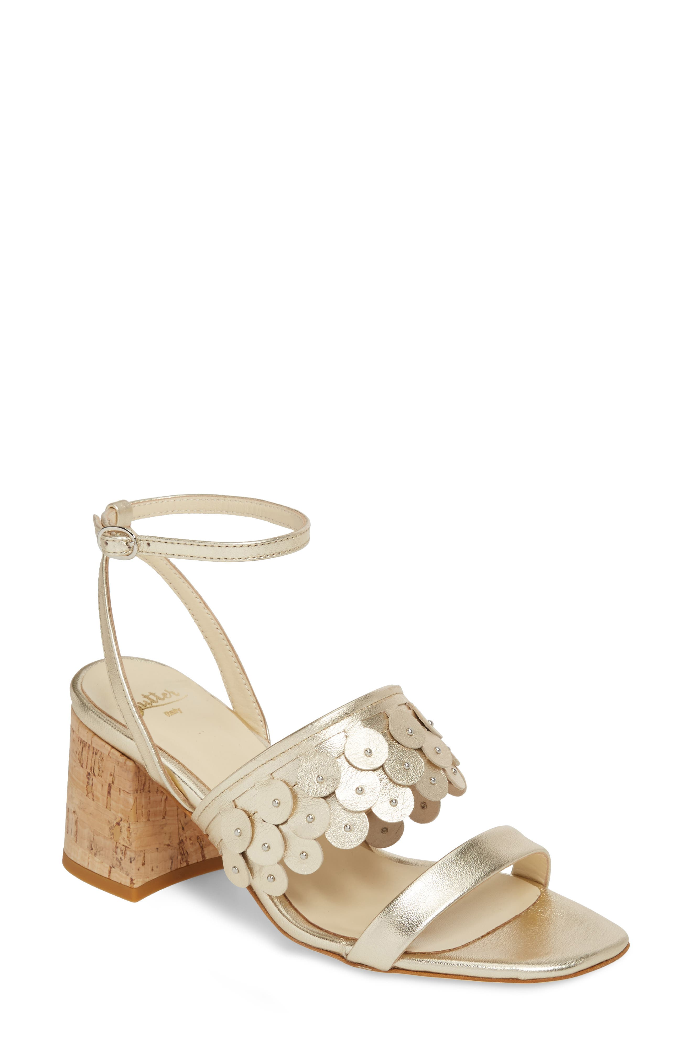 Butter Finley Studded Ankle Strap Sandal,                         Main,                         color, Platino Napa