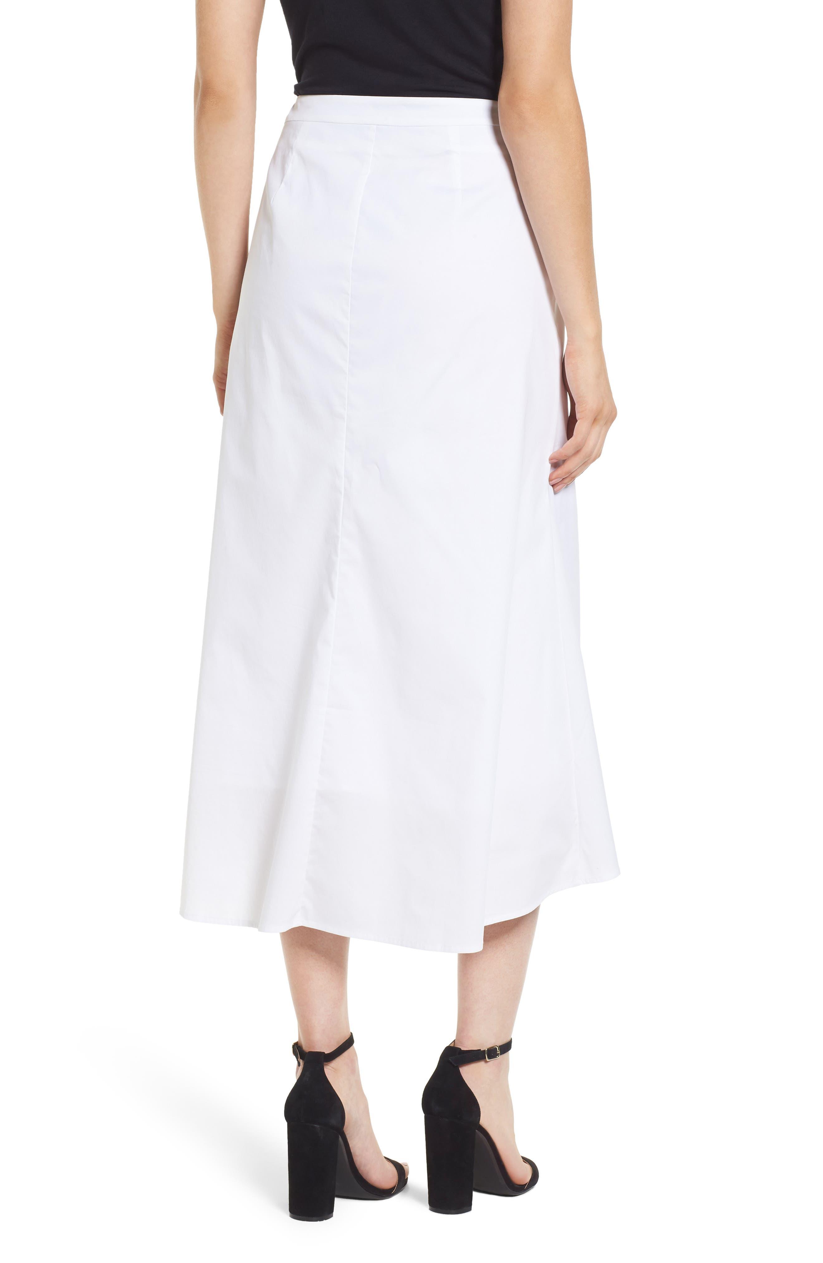 Ruched Front Midi Skirt,                             Alternate thumbnail 2, color,                             White