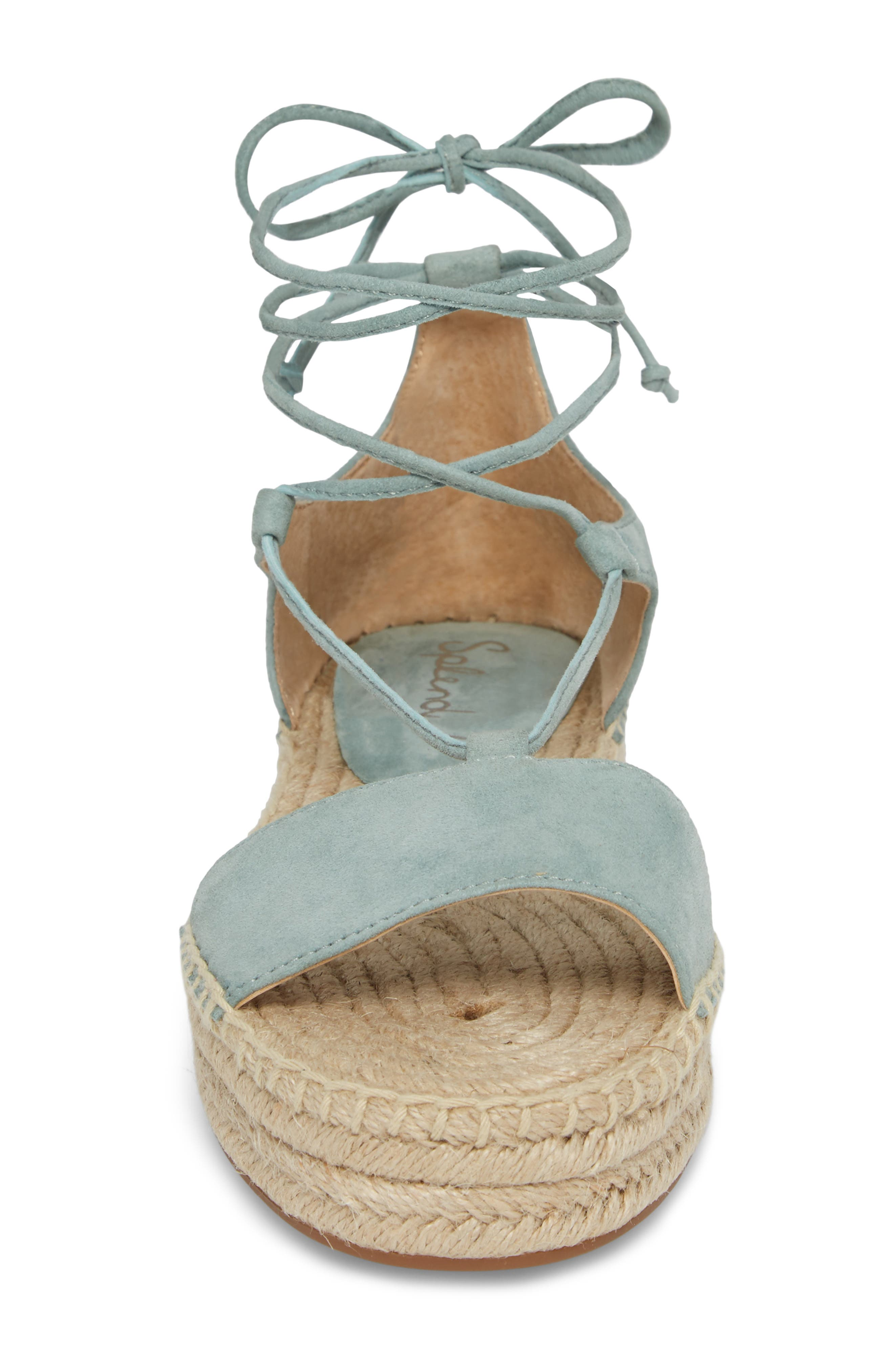 Fernanda Wraparound Platform Sandal,                             Alternate thumbnail 5, color,                             Deco Green Suede